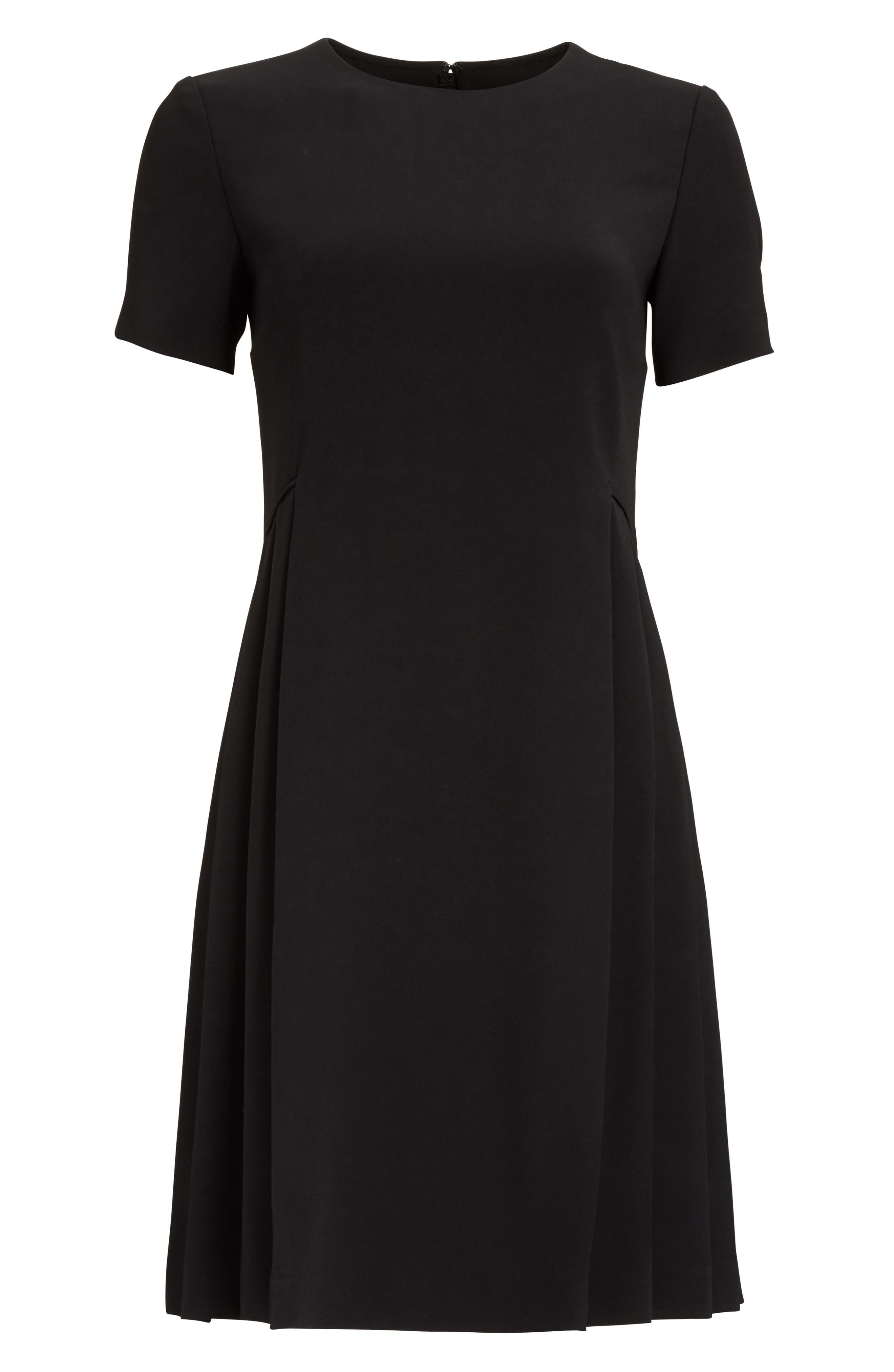 Pleated Fit & Flare Minidress,                             Alternate thumbnail 4, color,                             Black