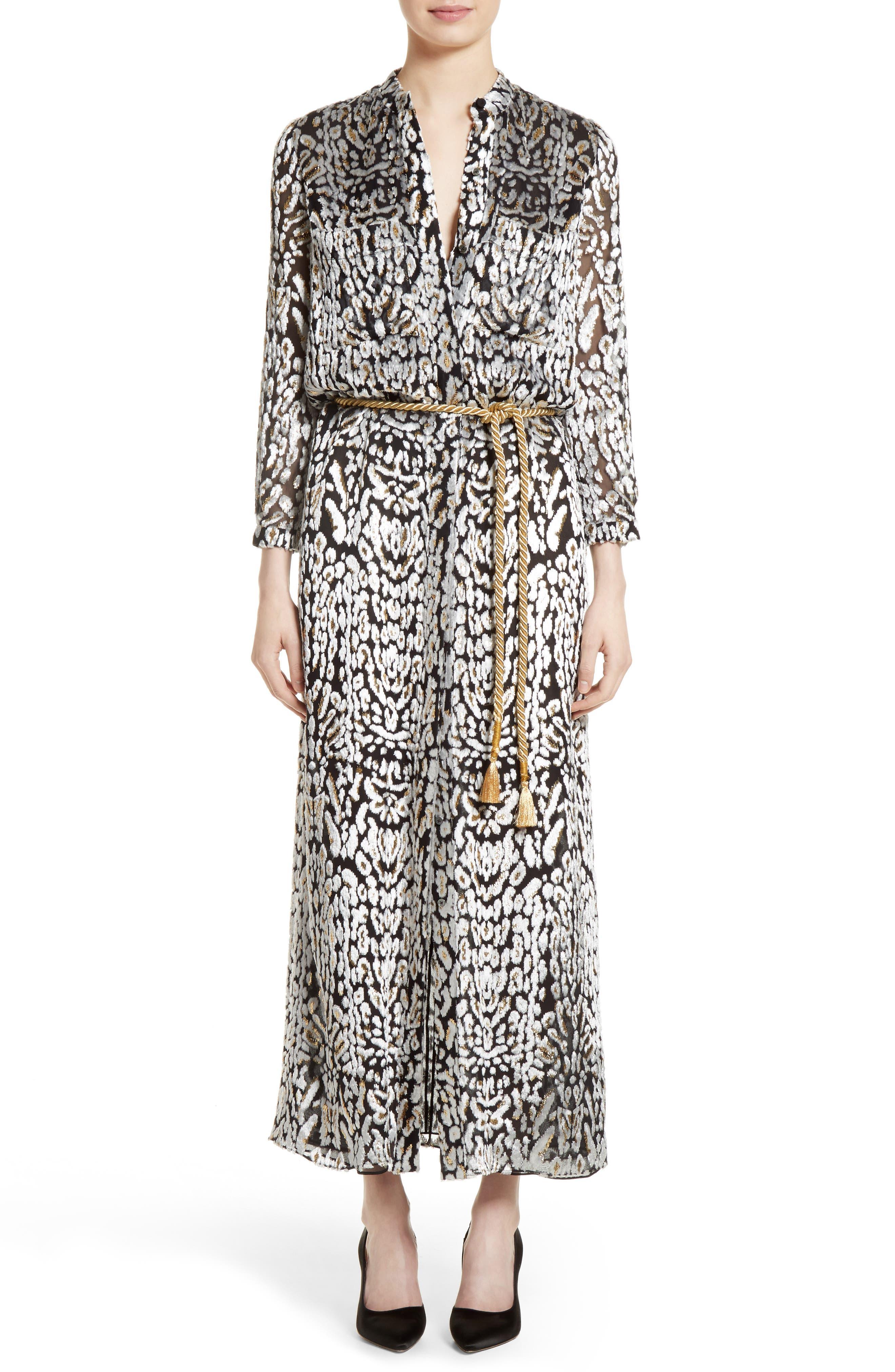 Ocelot Print Velvet Jacquard Dress,                         Main,                         color, Black/ Ivory/ Gold