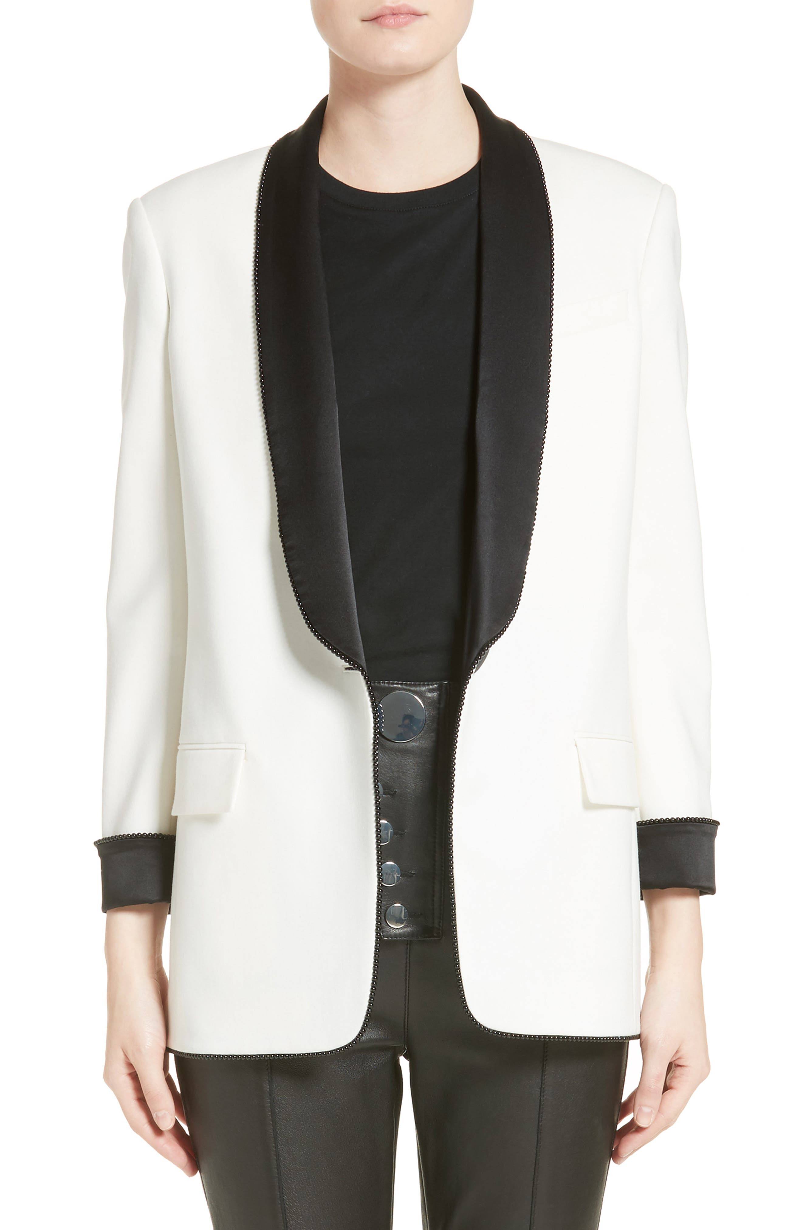 Chain Trim Tuxedo Blazer,                         Main,                         color, Eggshell