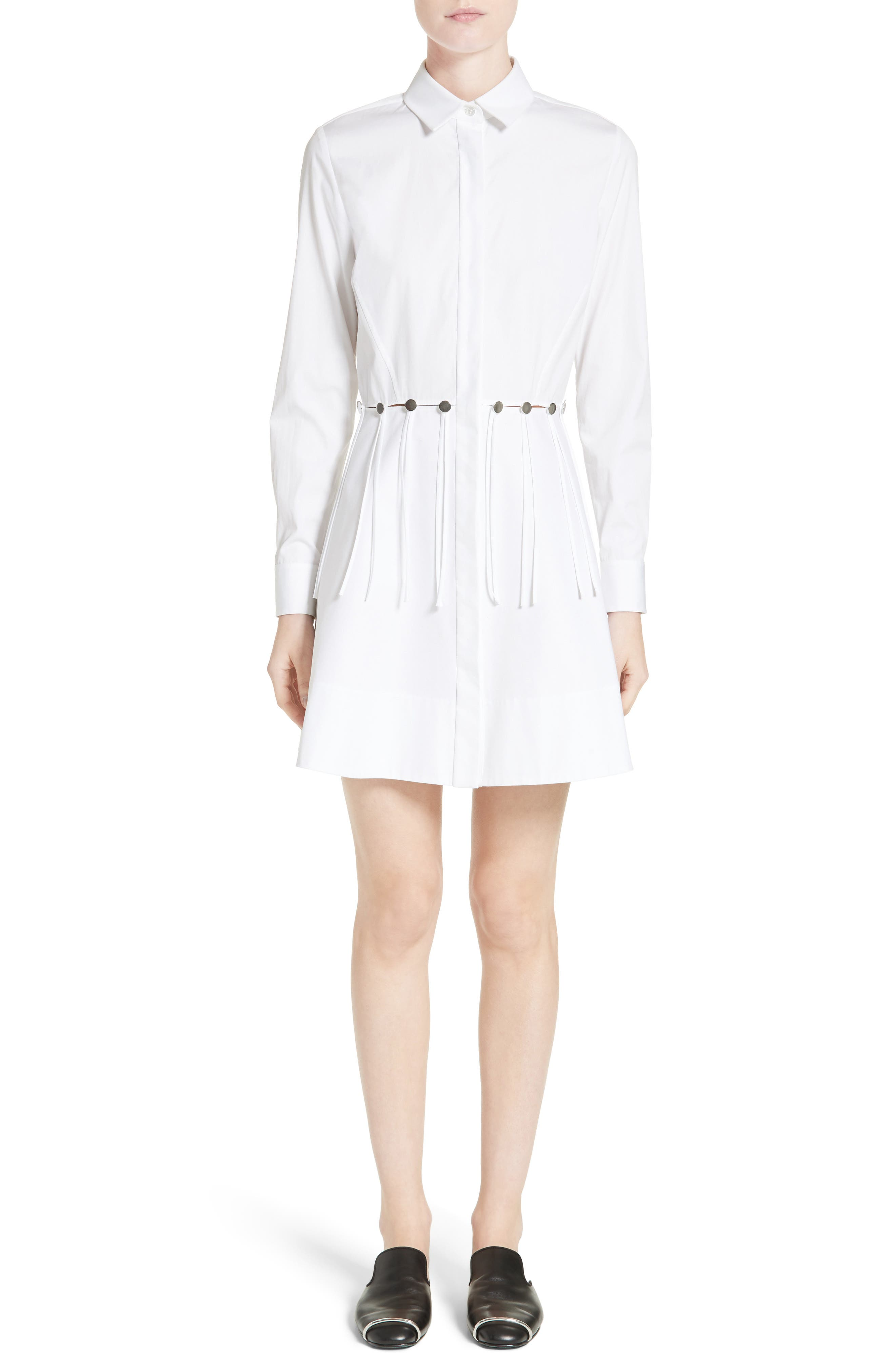 Cotton Poplin Shirtdress,                         Main,                         color, Eggshell
