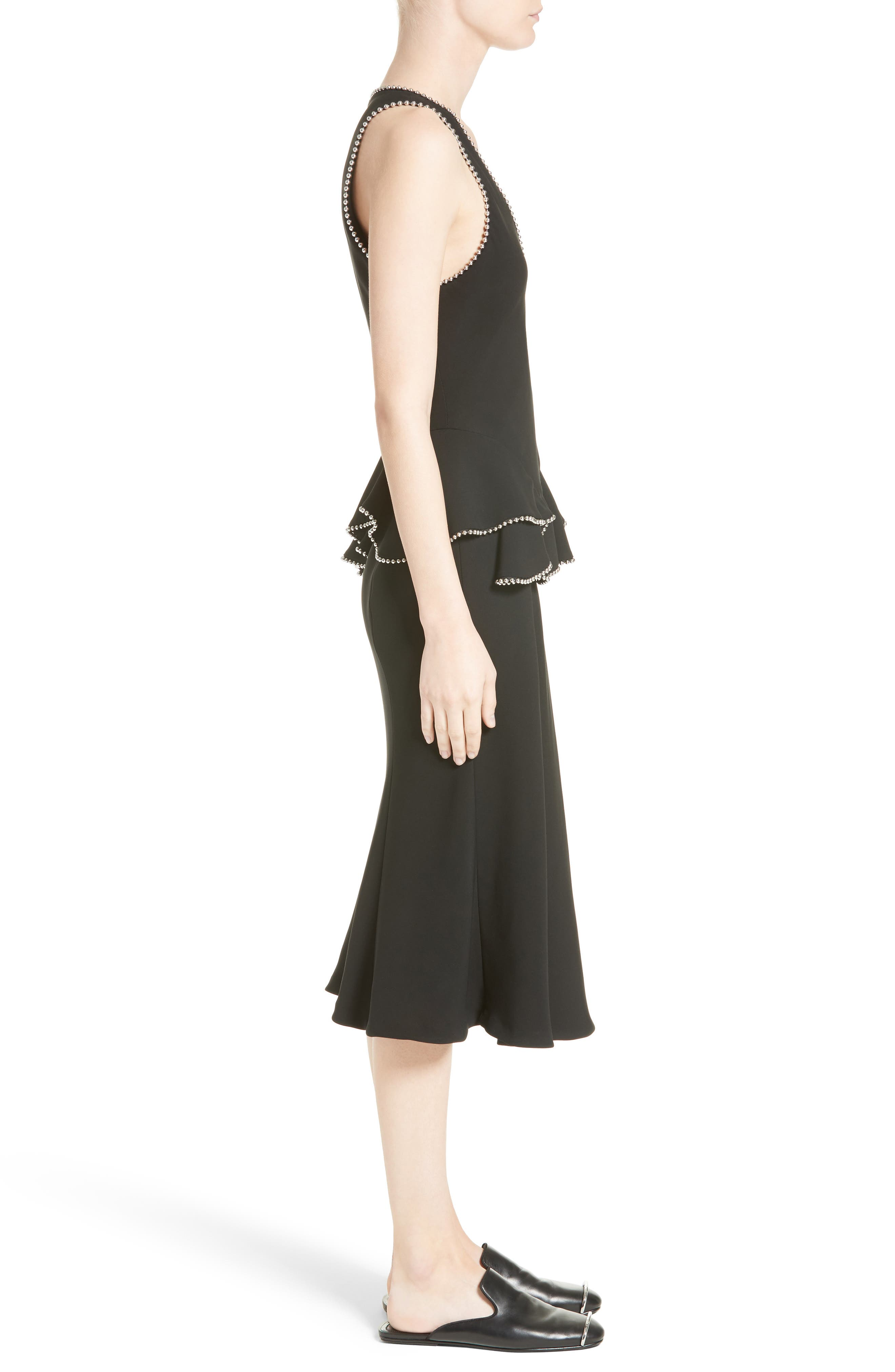 Chain Trim Silk Ruffle Dress,                             Alternate thumbnail 5, color,                             Onyx