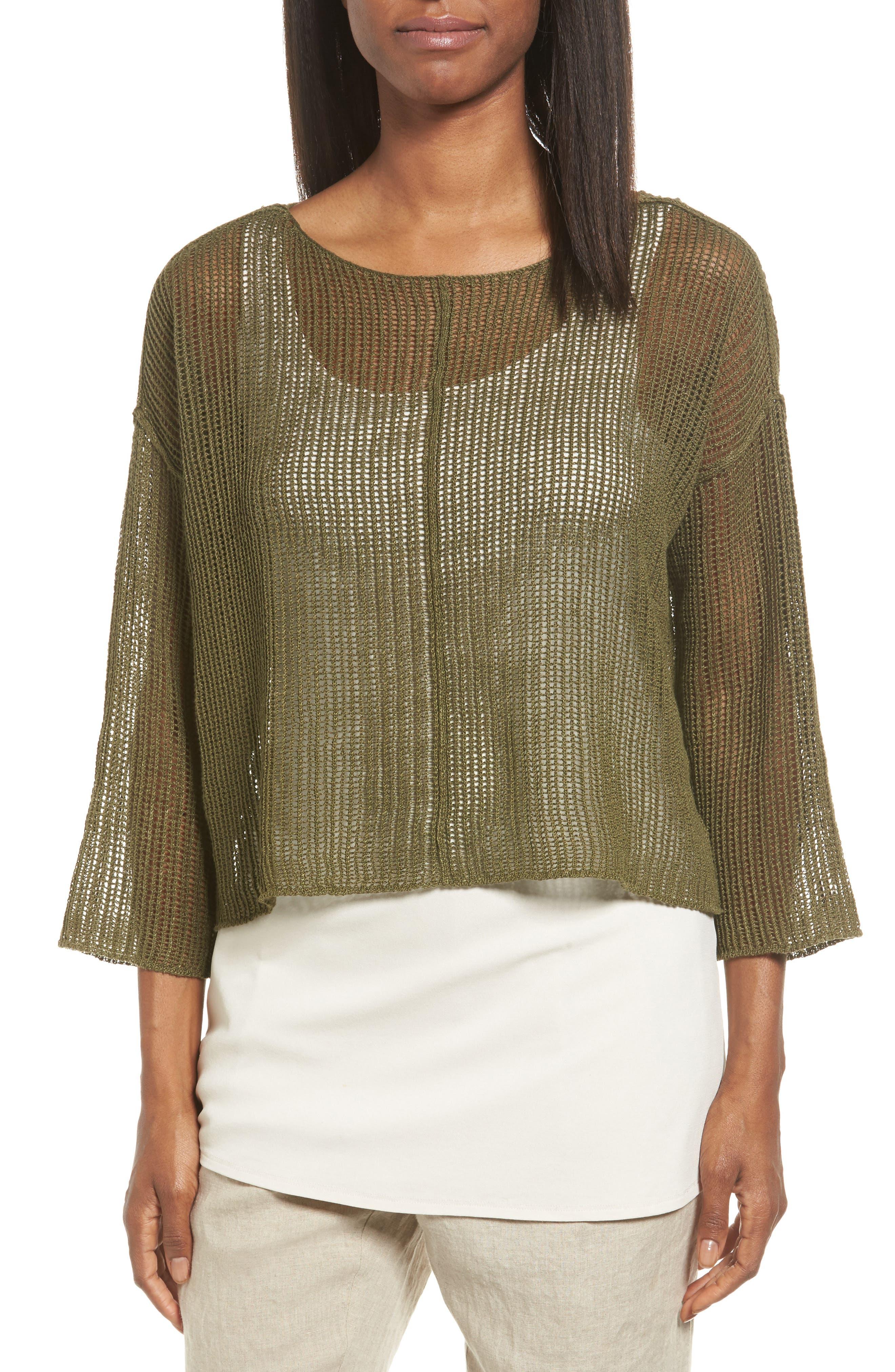Main Image - Eileen Fisher Organic Linen Crop Sweater (Regular & Petite)