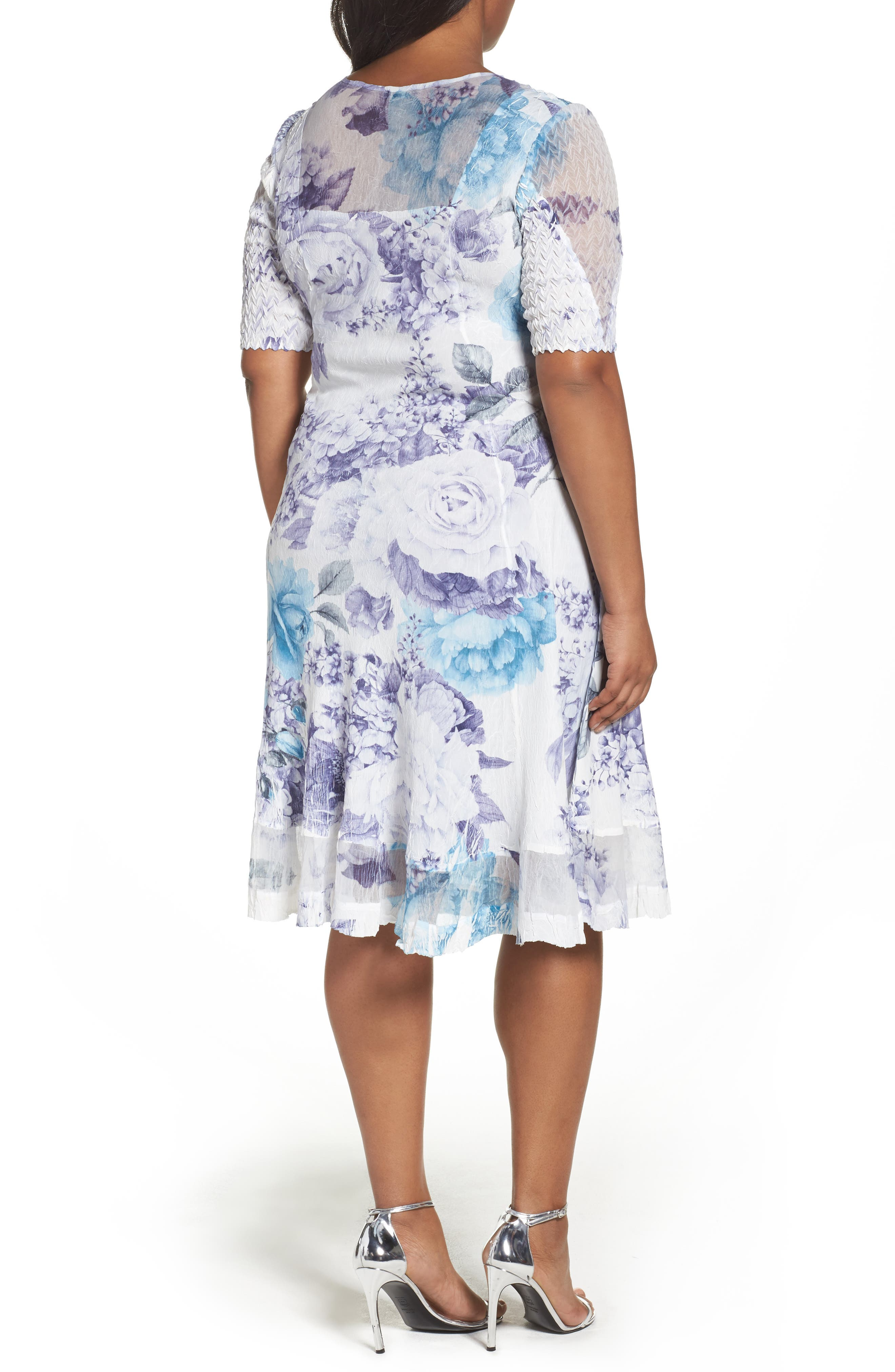 Alternate Image 2  - Komarov Print Keyhole Chiffon A-Line Dress (Plus Size)