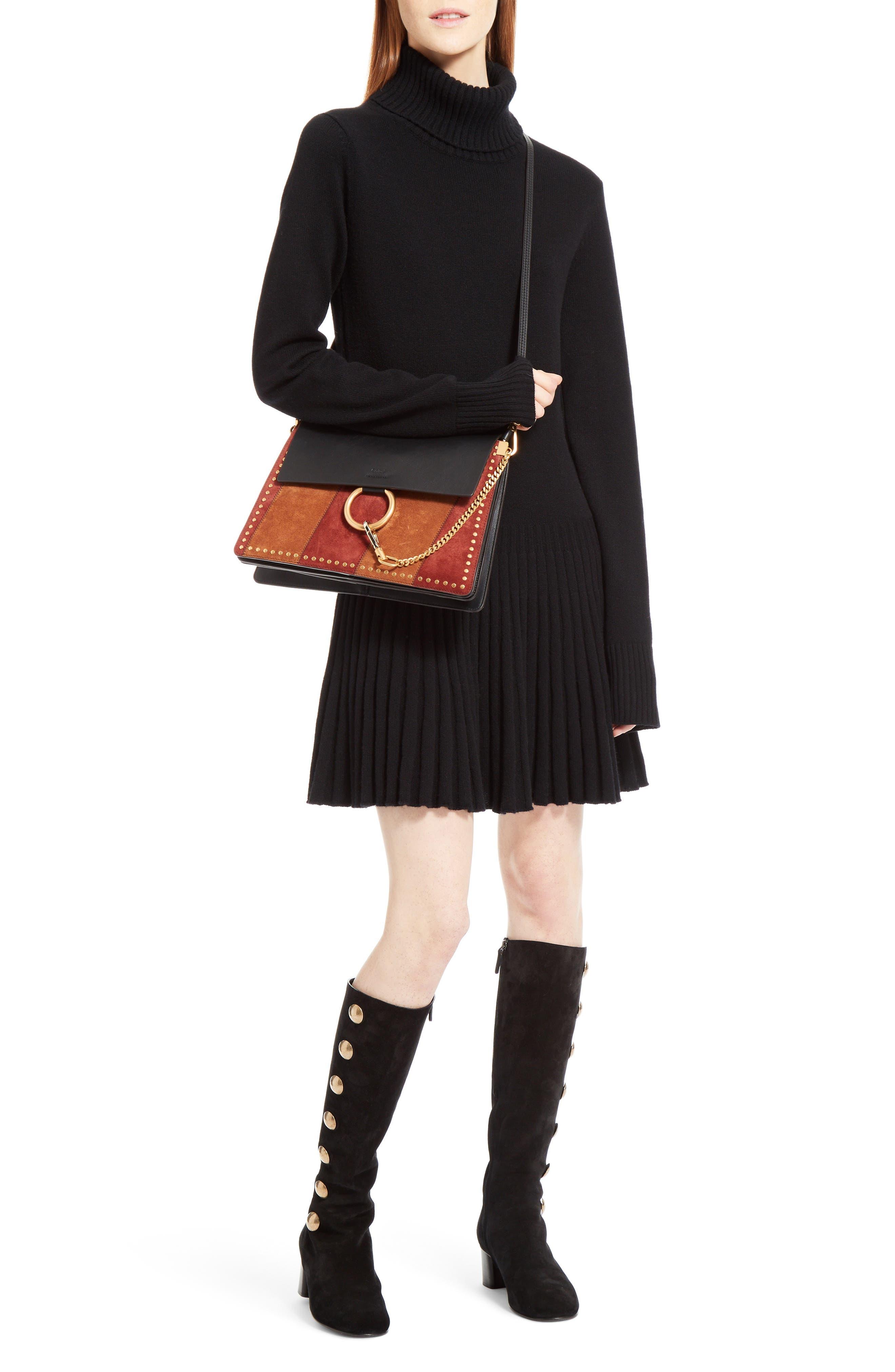 Faye Studded Suede & Leather Shoulder Bag,                             Alternate thumbnail 2, color,                             Black