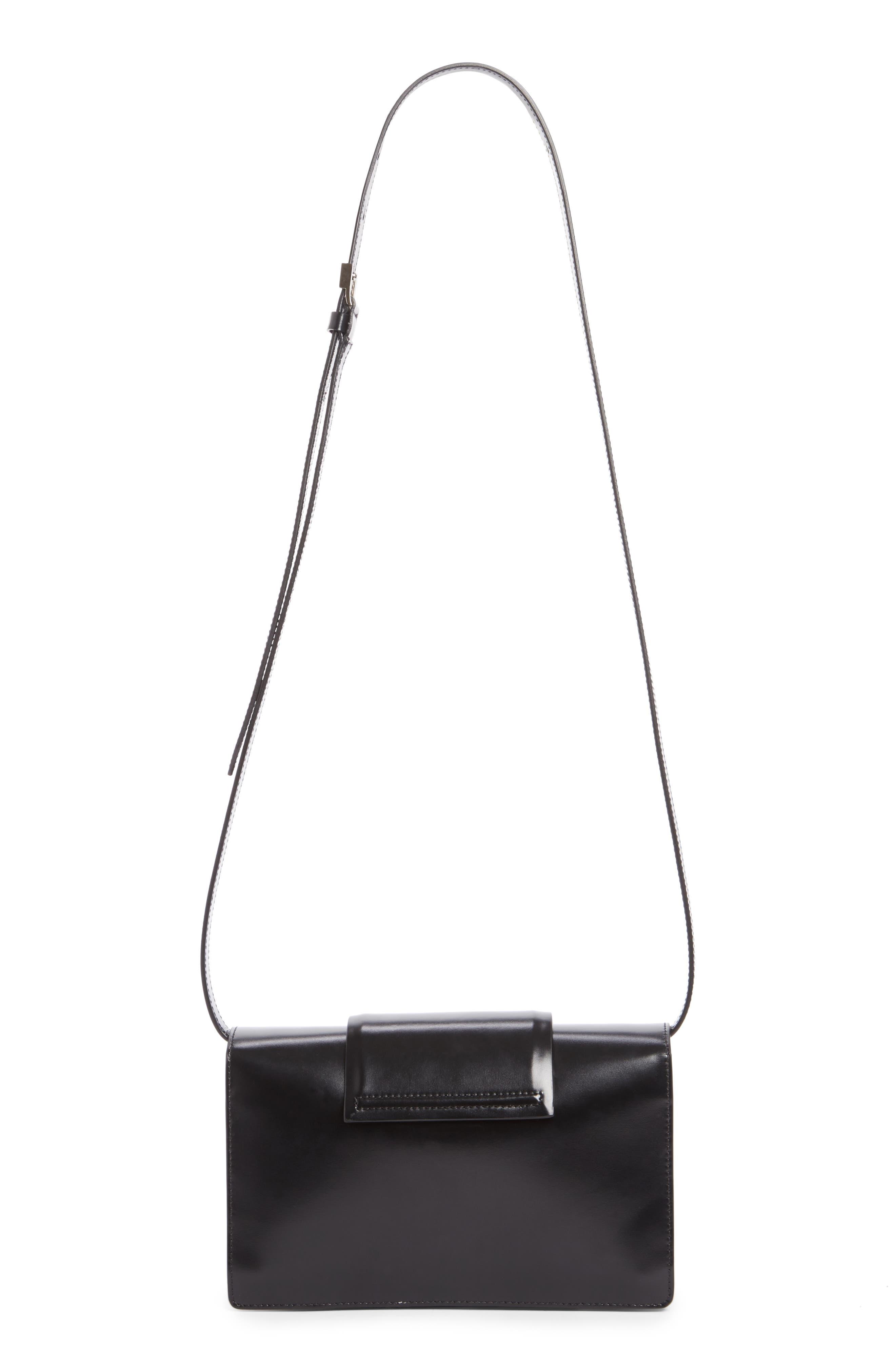 Small Infinity Calfskin Leather Shoulder Bag,                             Alternate thumbnail 2, color,                             Black