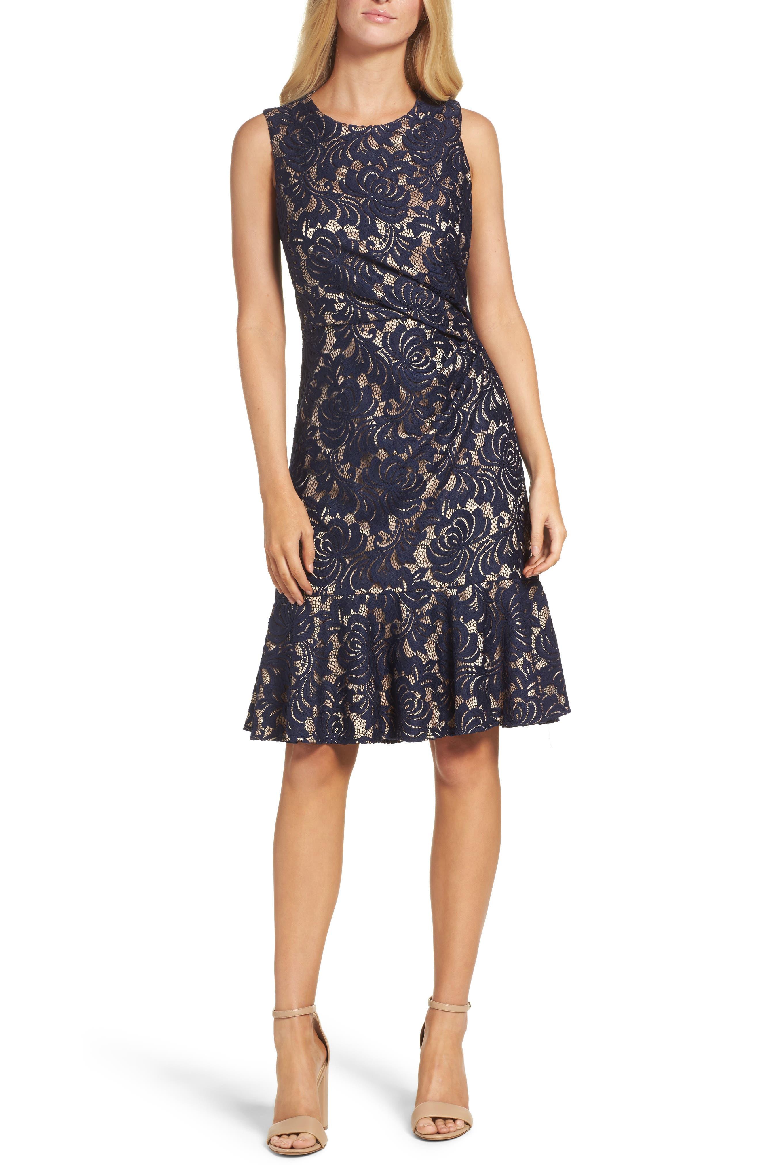 Alternate Image 1 Selected - Eliza J Lace Midi Dress
