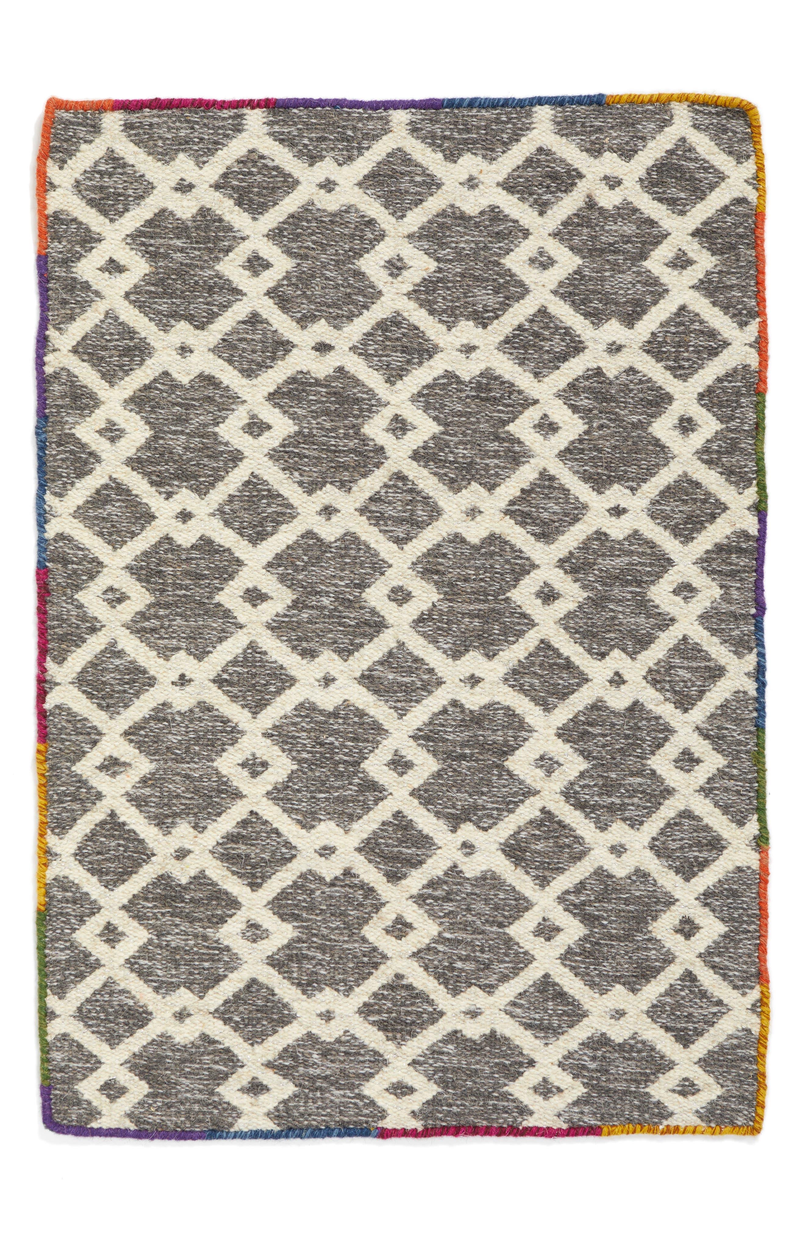 Lattice Handwoven Area Rug,                         Main,                         color, Grey Asphalt Multi