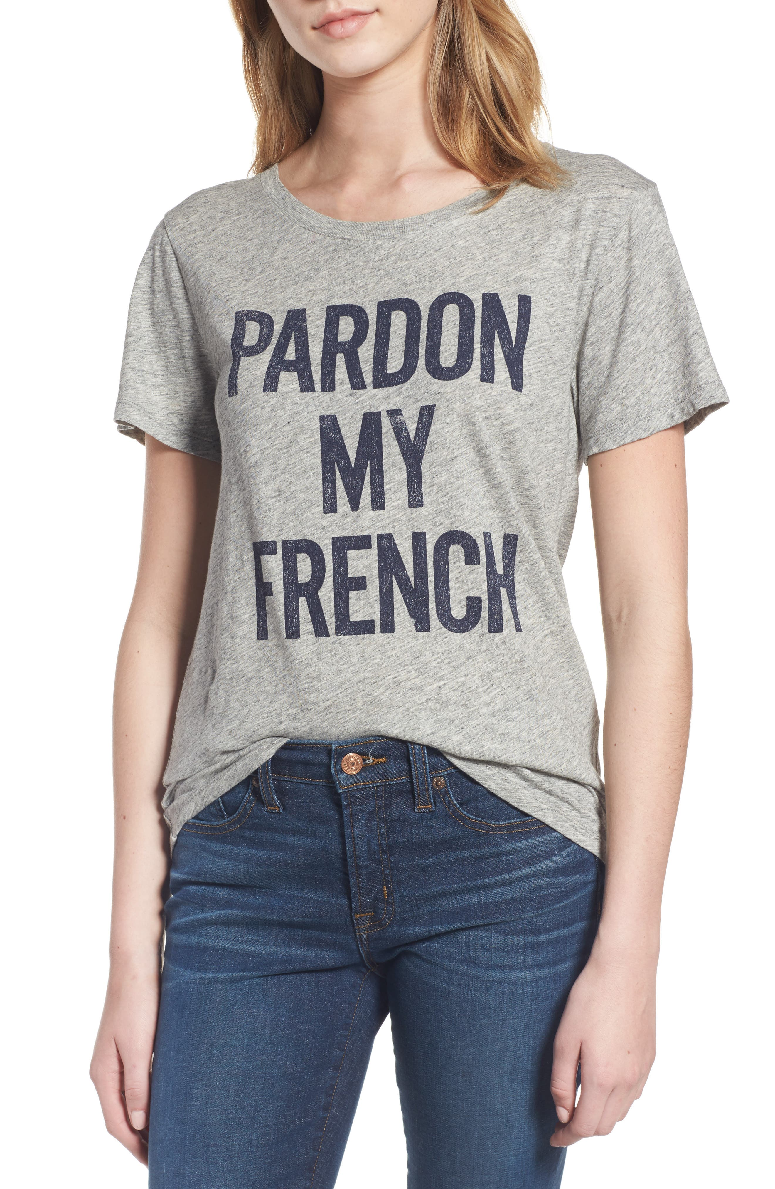 J.Crew Pardon My French Graphic Tee,                             Main thumbnail 1, color,                             Heather Graphite