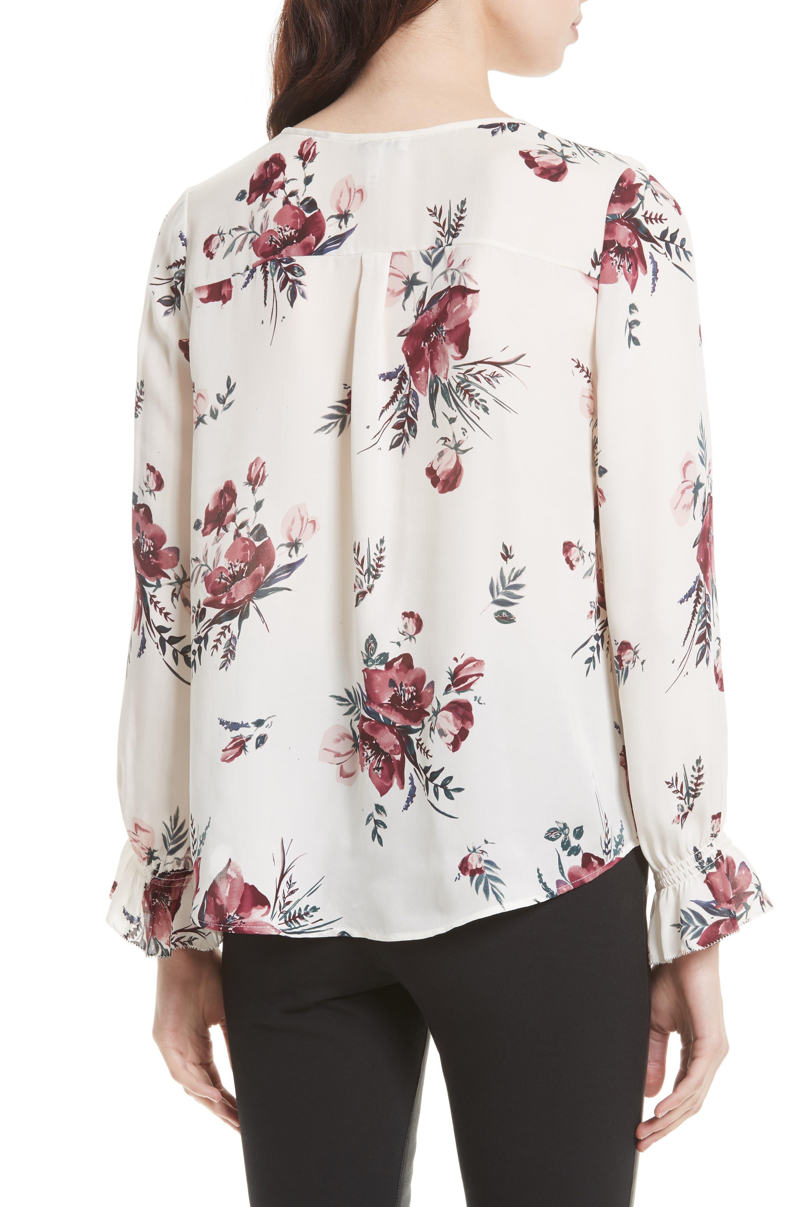 Alternate Image 2  - Joie Jayann B Ruffle Front Floral Silk Blouse