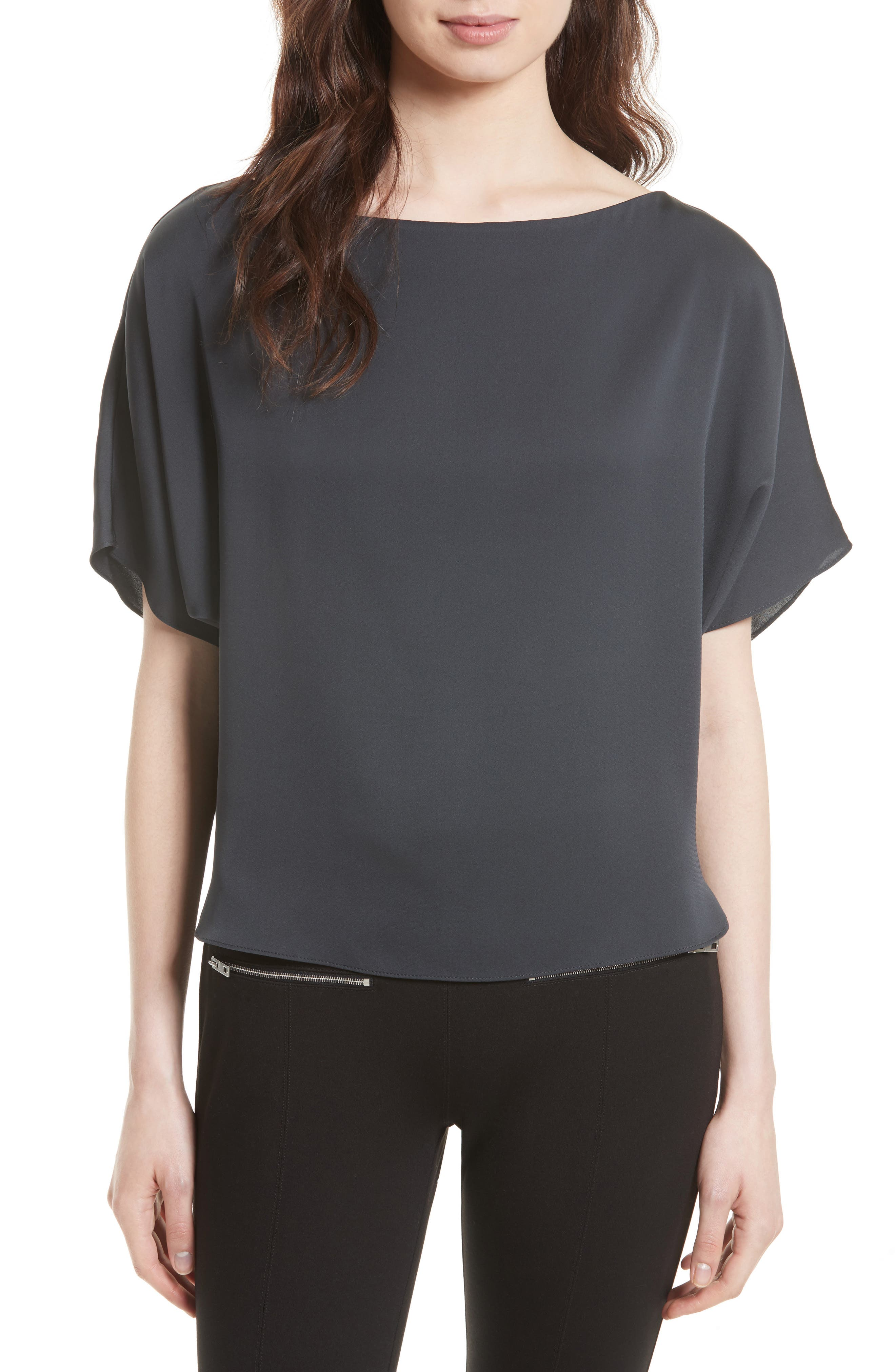 Milly Dolman Sleeve Stretch Silk Top