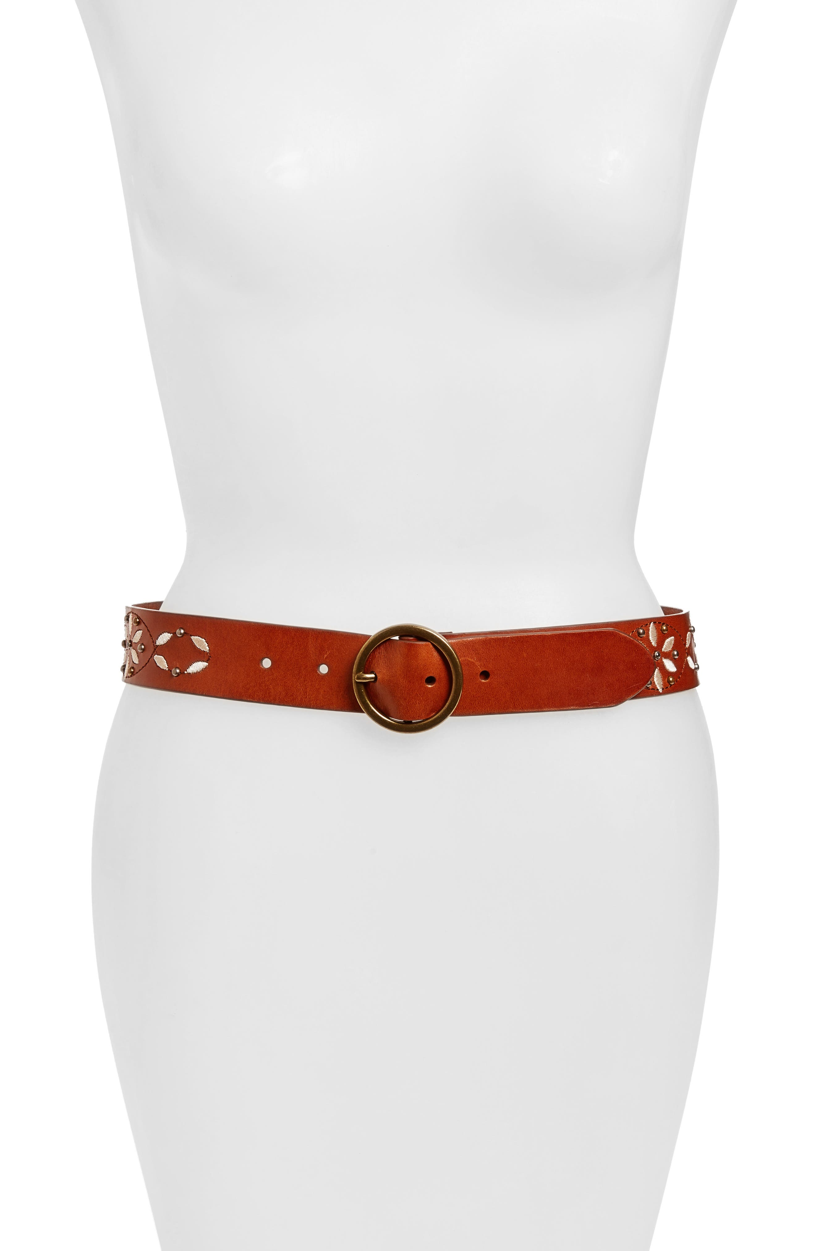 HINGE Floral Embroidered Leather Belt
