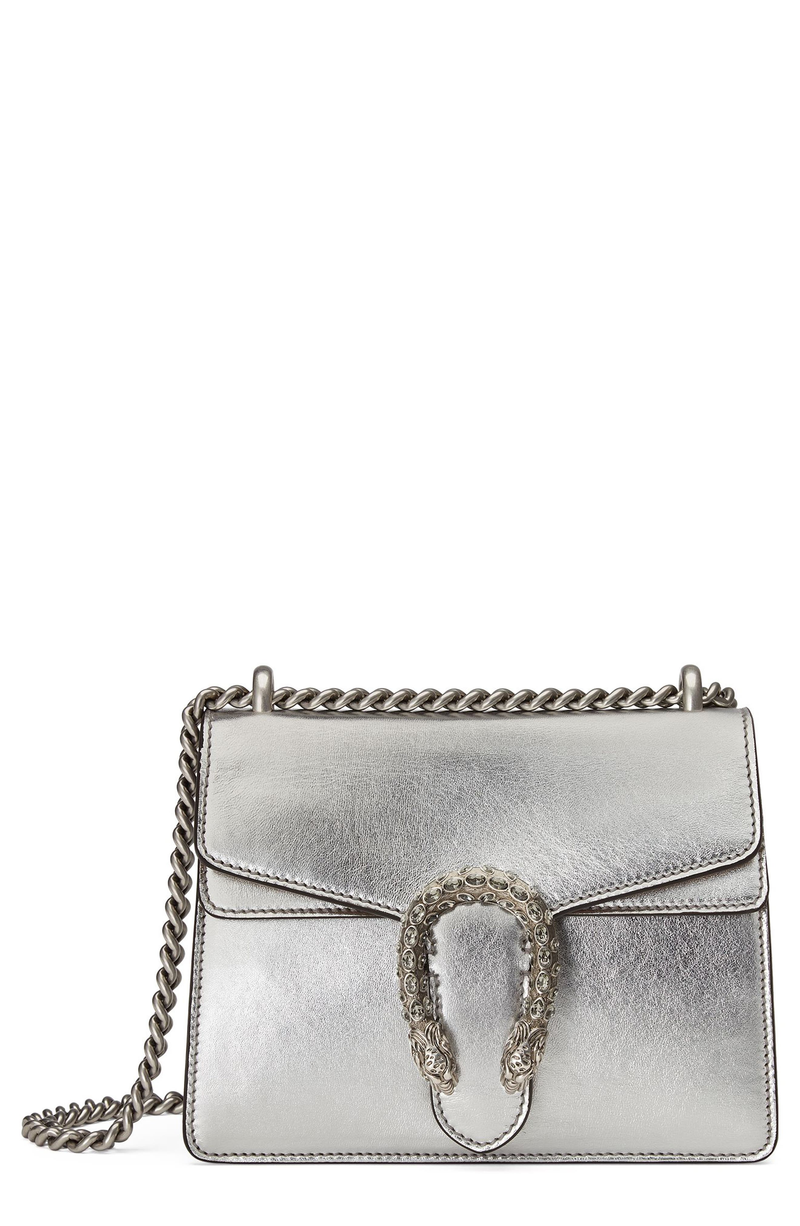 Mini Dionysus Metallic Leather Shoulder Bag,                         Main,                         color, Argento/Blk Diamond