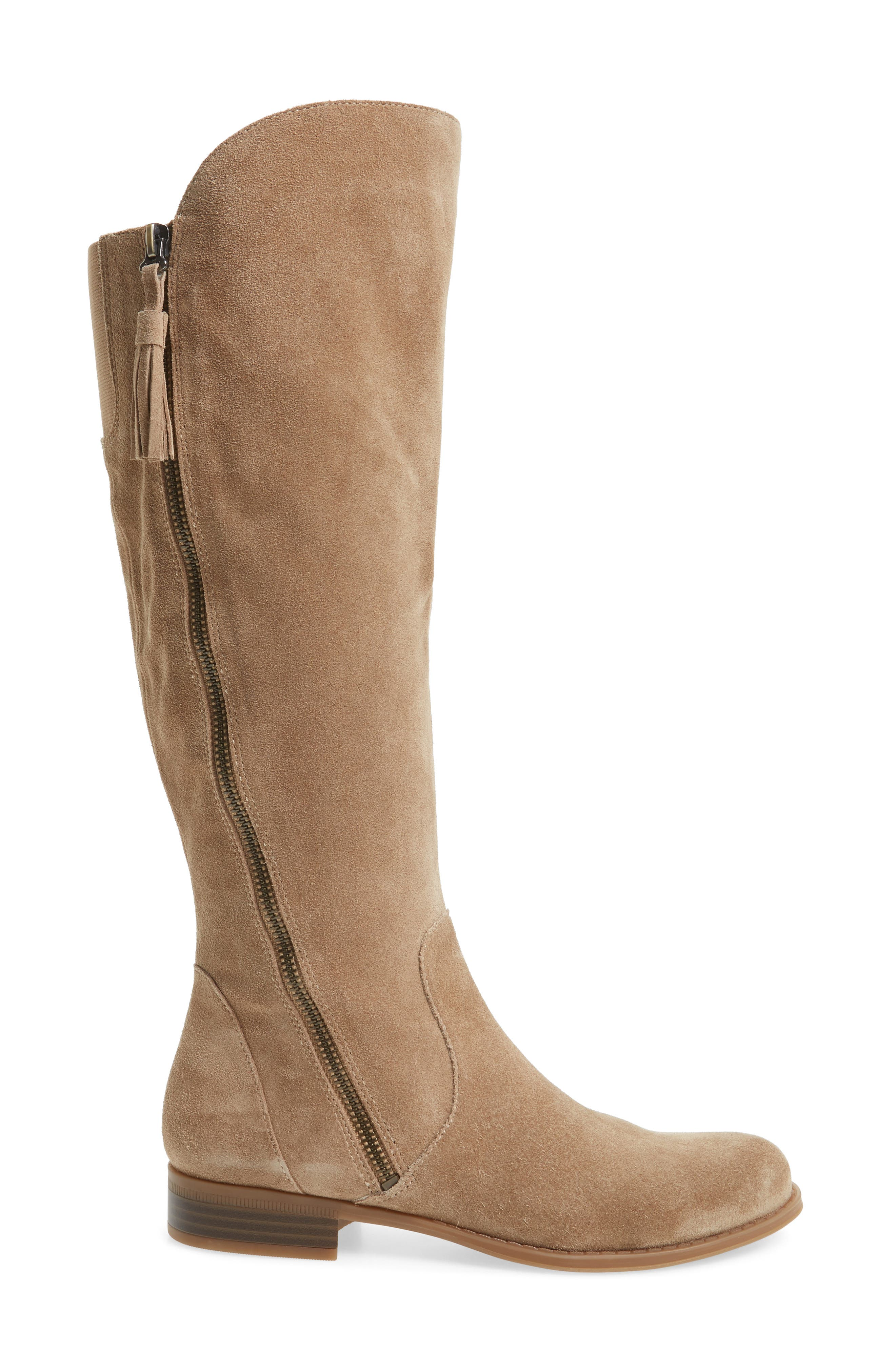 Jinnie Tall Boot,                             Alternate thumbnail 3, color,                             Oatmeal Suede
