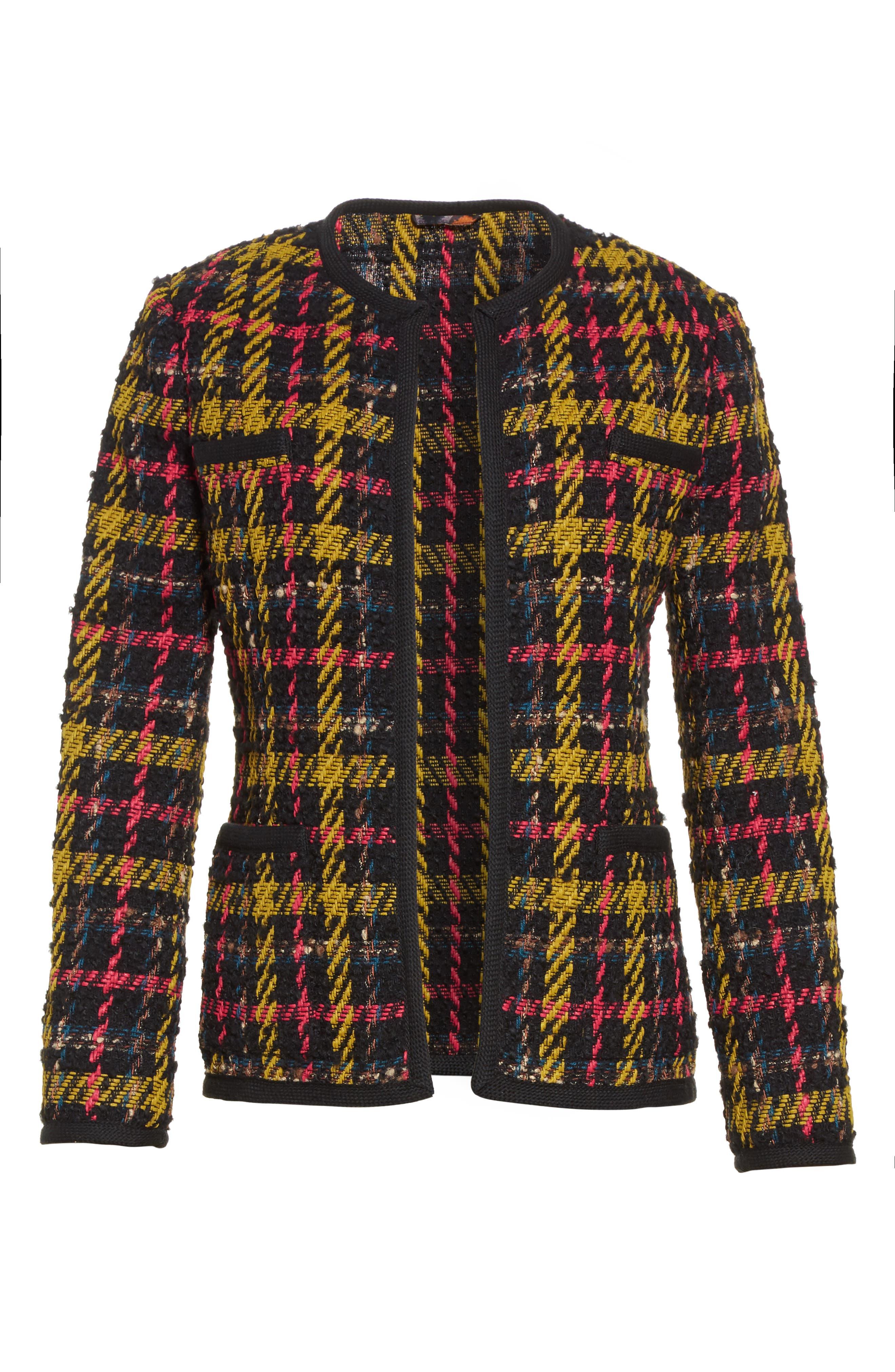 Plaid Jacket,                             Alternate thumbnail 4, color,                             Black