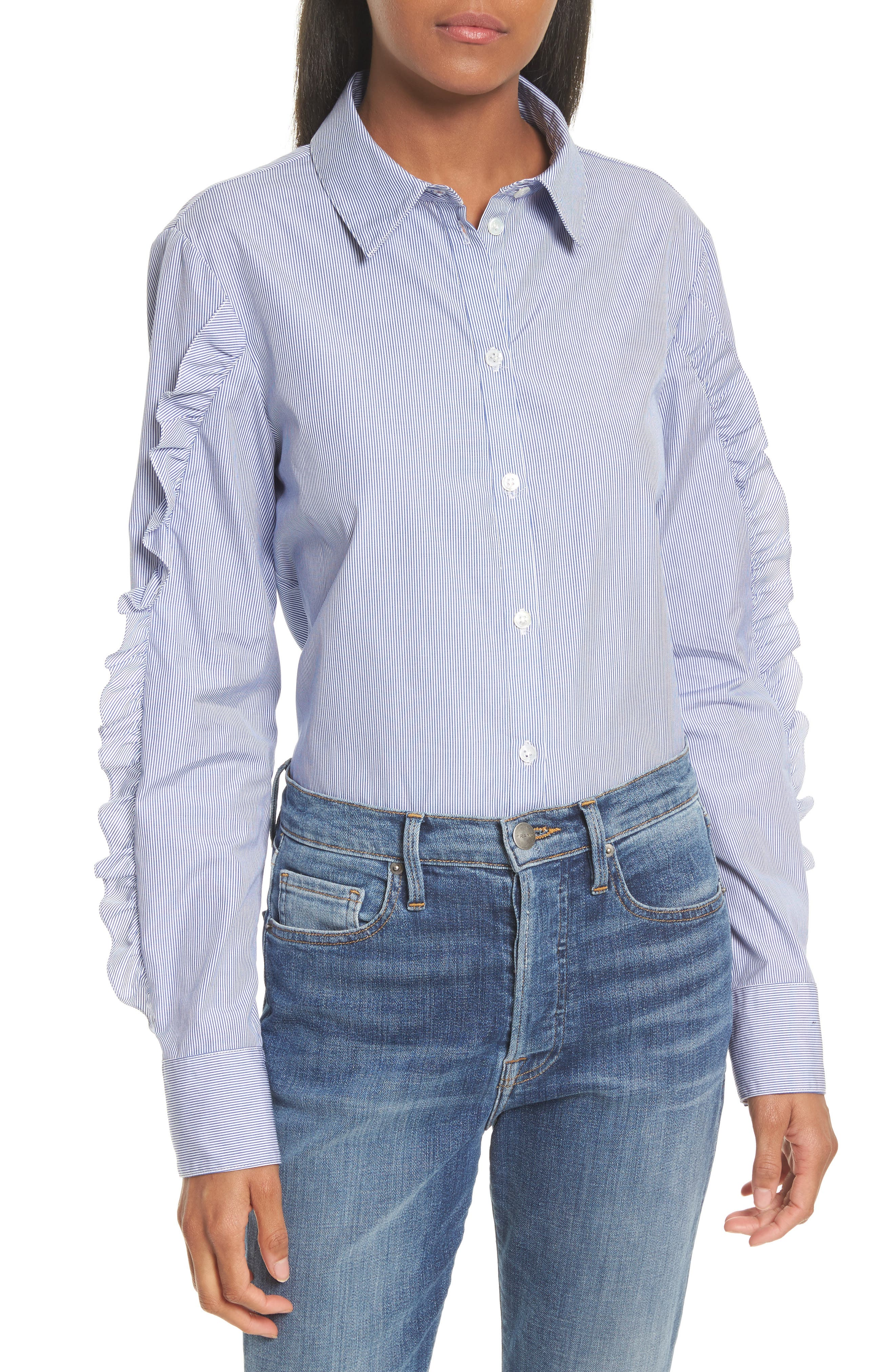Tibi Ruffle Cotton Shirt