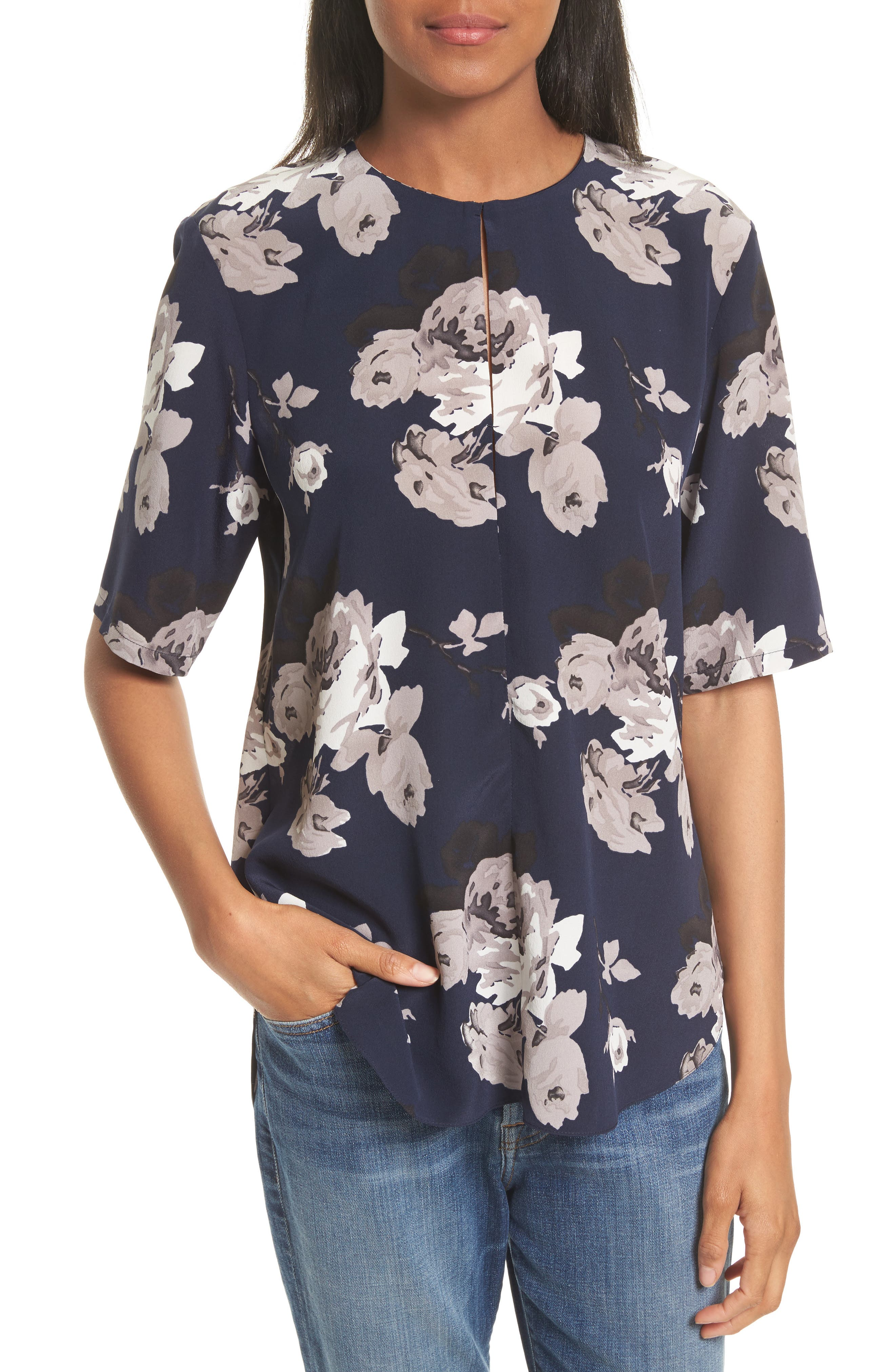 Theory Antazie Floral Crêpe de Chine Top