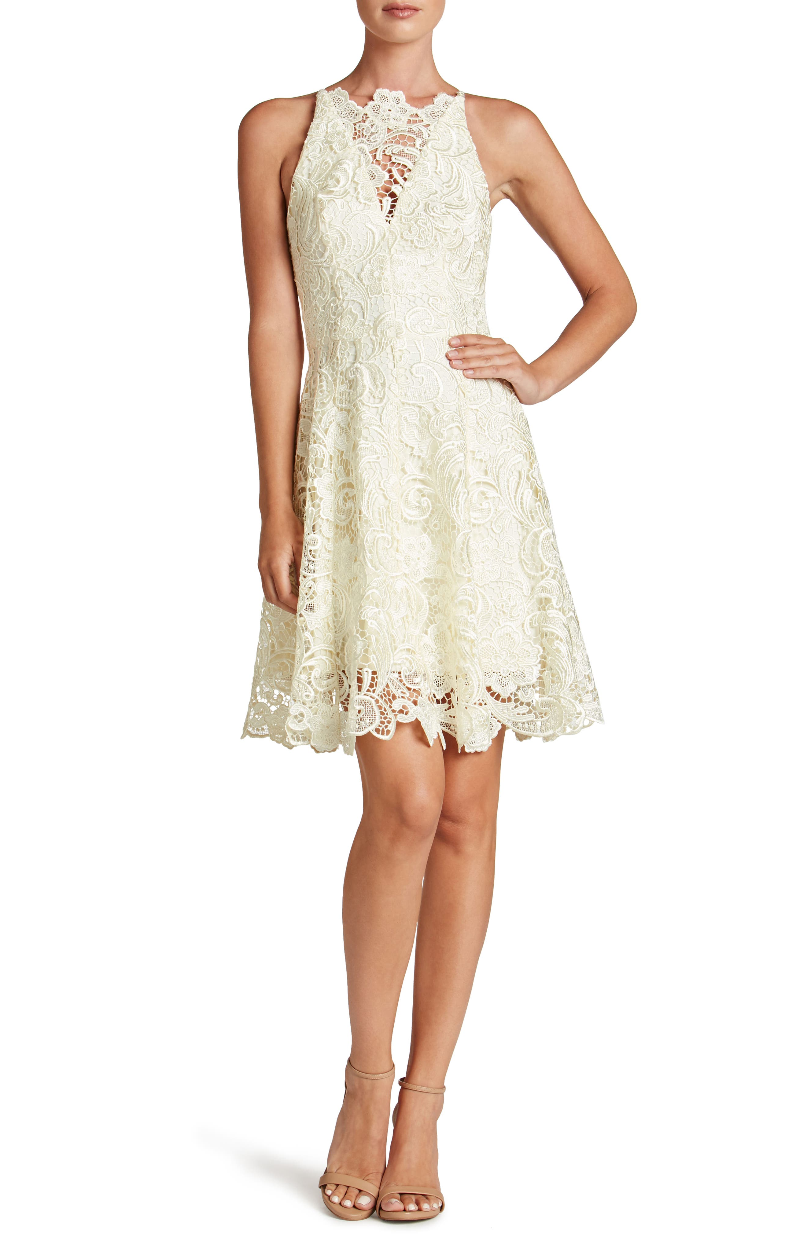 DRESS THE POPULATION Hayden Crochet Lace Fit & Flare Dress