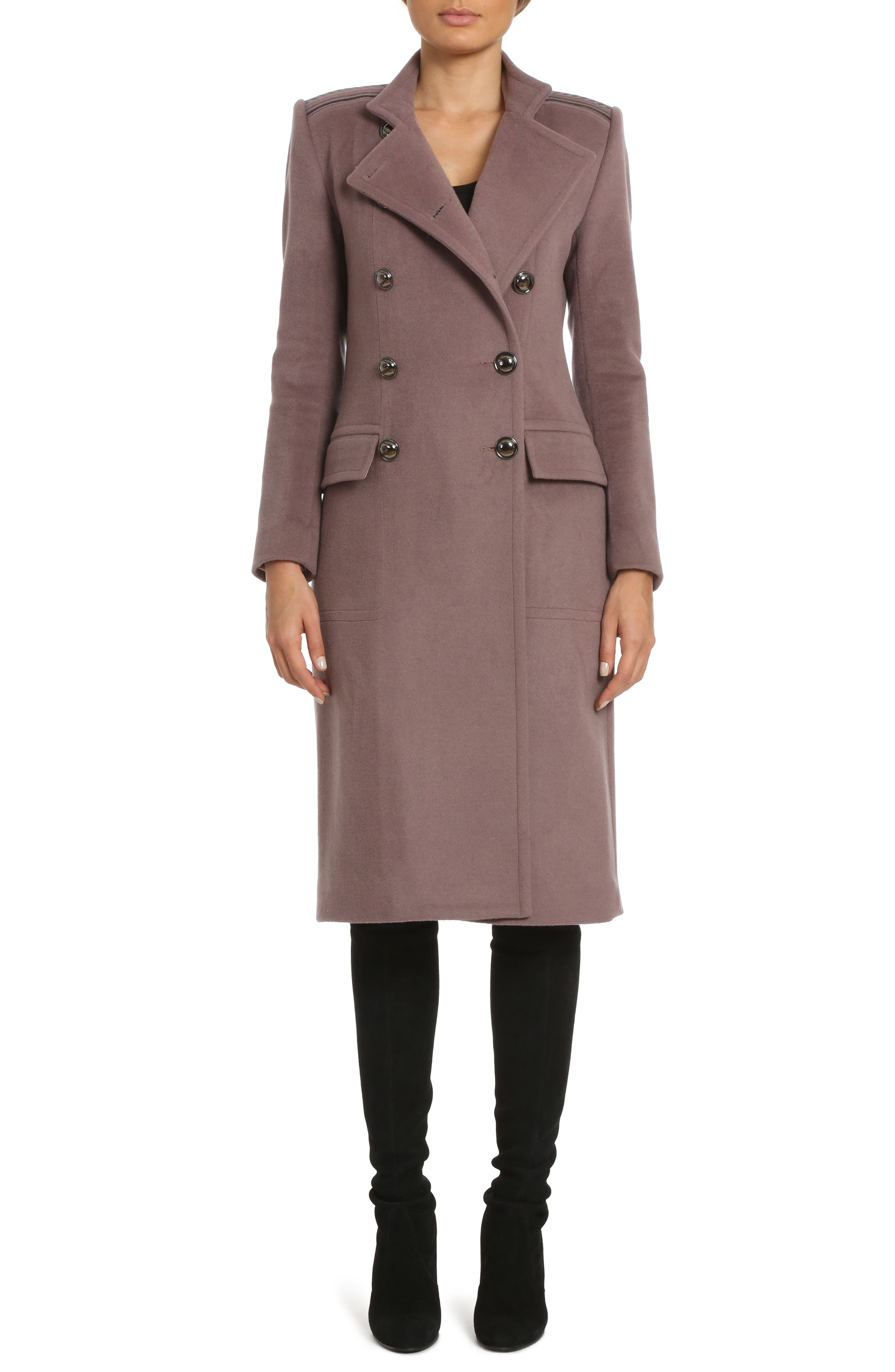 Badgley Mischka Trinity Embroidered Long Wool Blend Coat