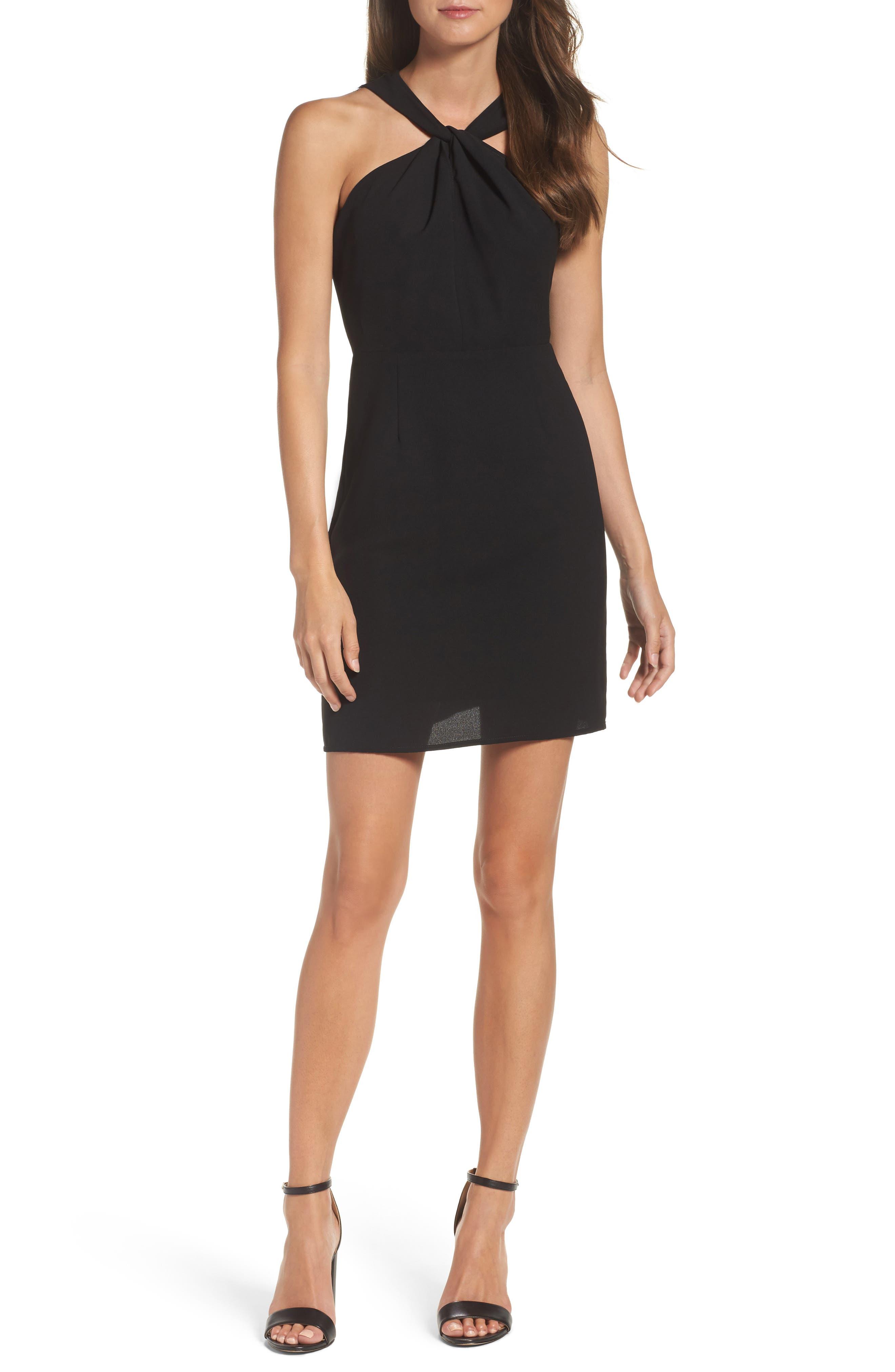 Lace Back Sheath Dress,                             Main thumbnail 1, color,                             Black