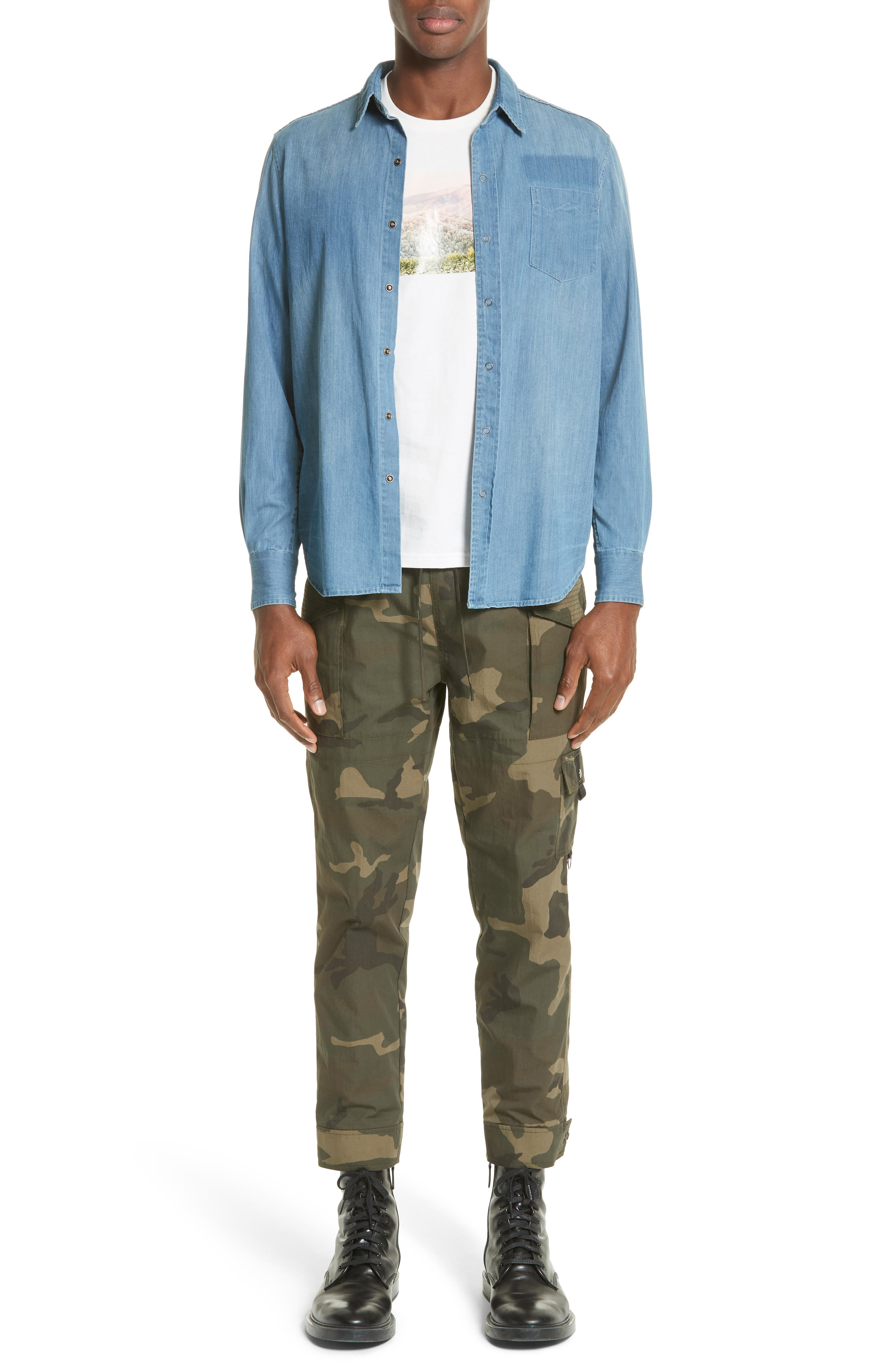 Alternate Image 6  - OVADIA & SONS Eastern Denim Sport Shirt
