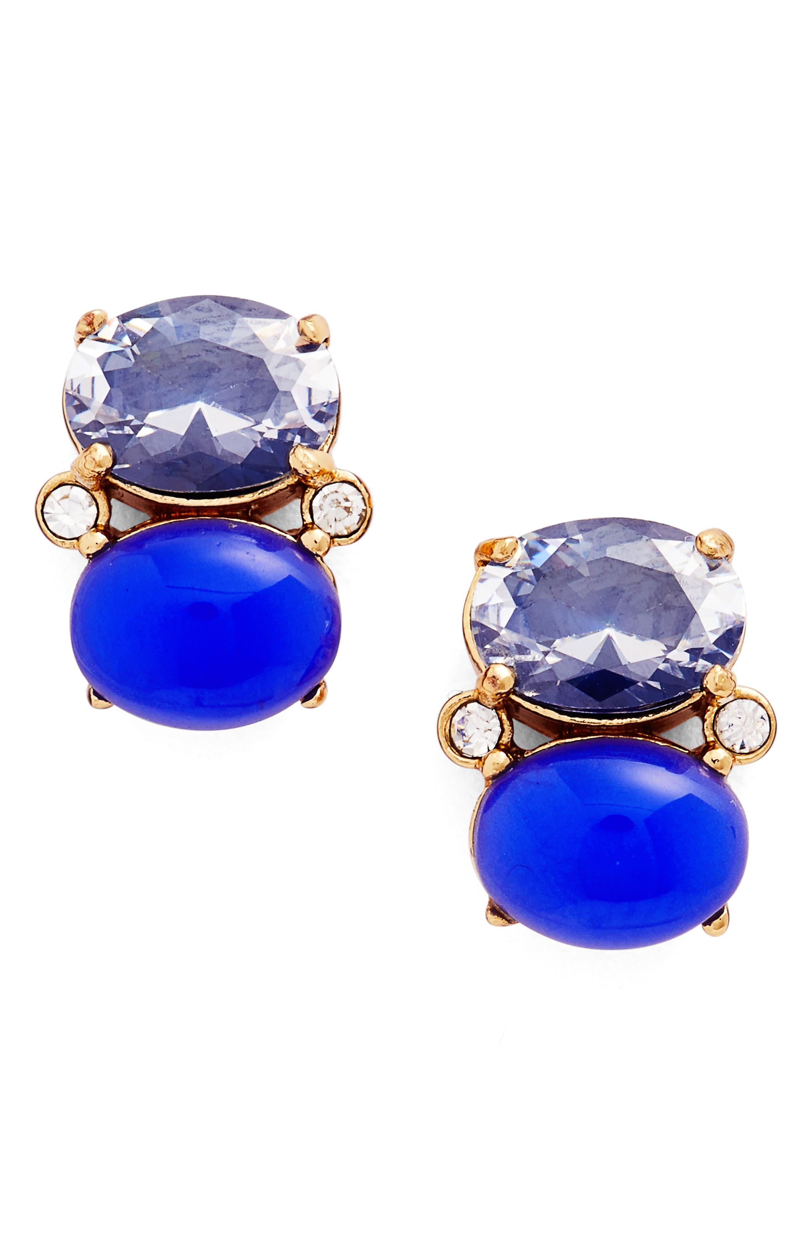 shine on crystal stud earrings,                             Main thumbnail 1, color,                             Navy Multi