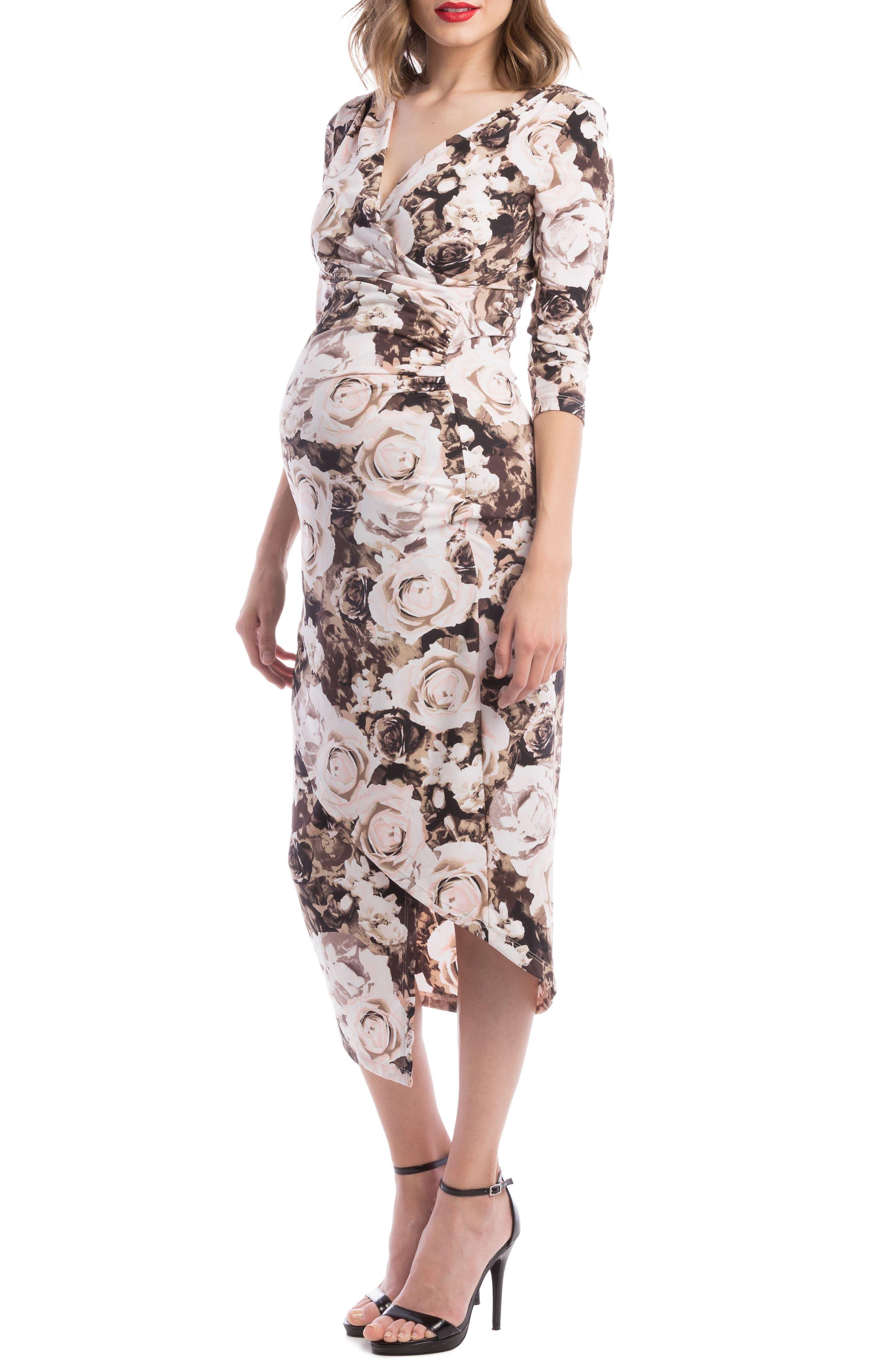 Main Image - Lilac Clothing Carly Faux Wrap Maternity/Nursing Dress