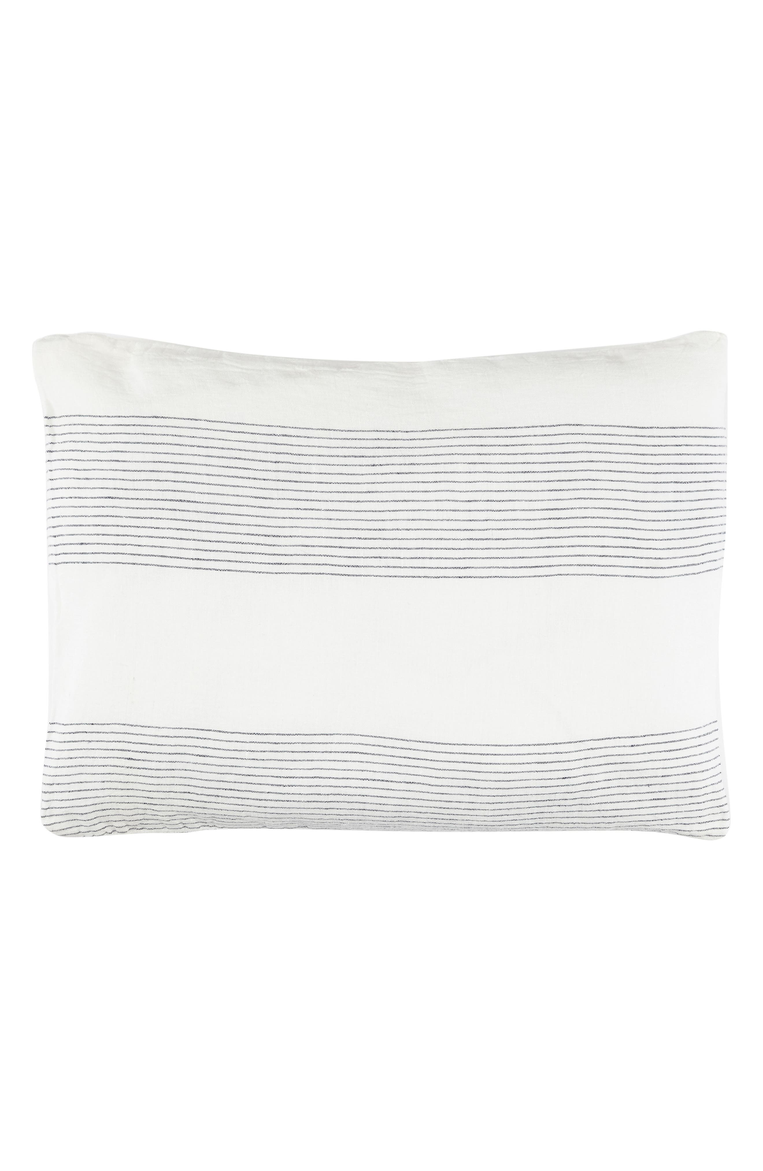 Amagansett Linen Accent Pillow,                         Main,                         color, White/ Indigo