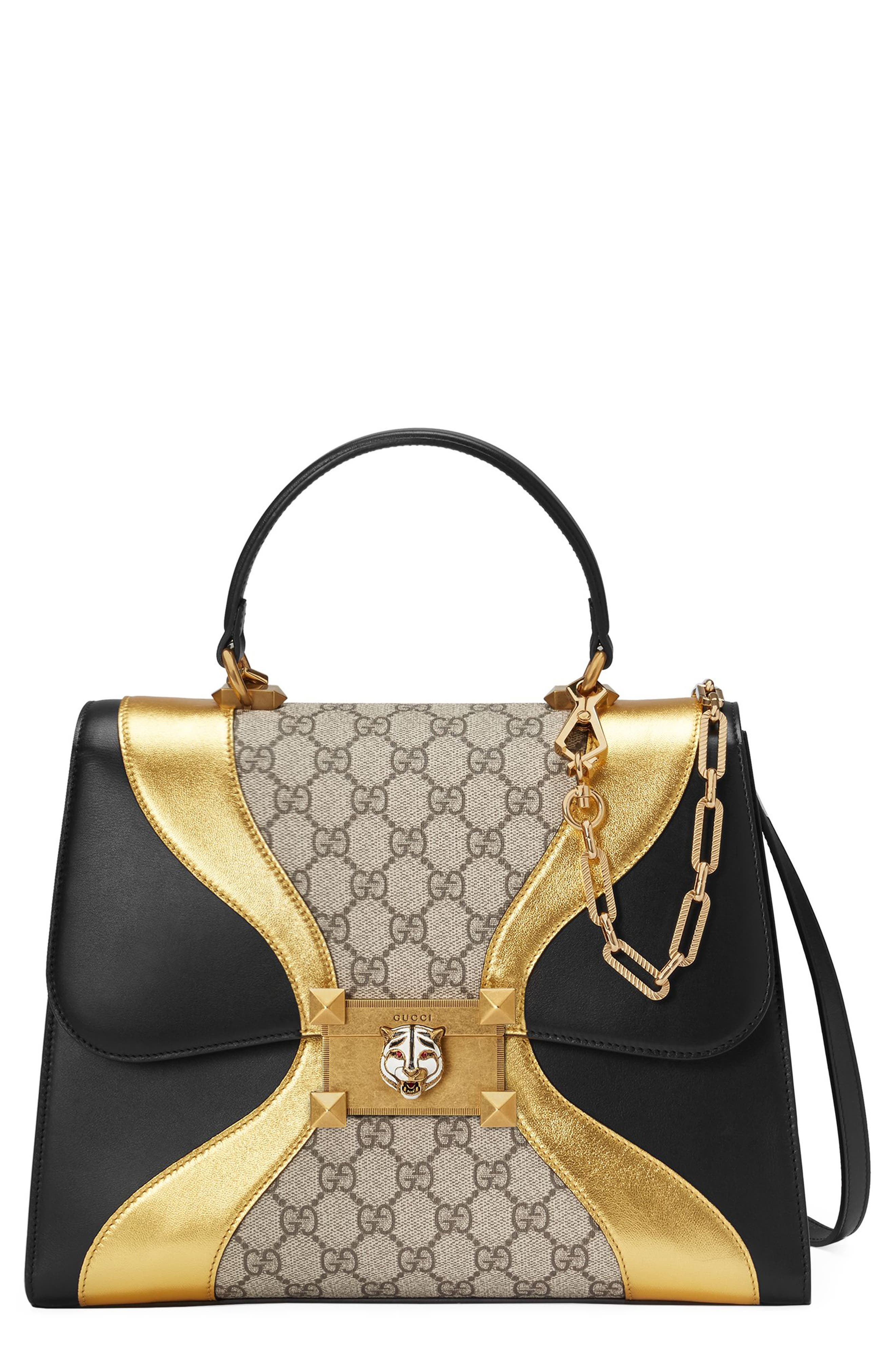 GUCCI Top Handle GG Supreme & Leather Satchel