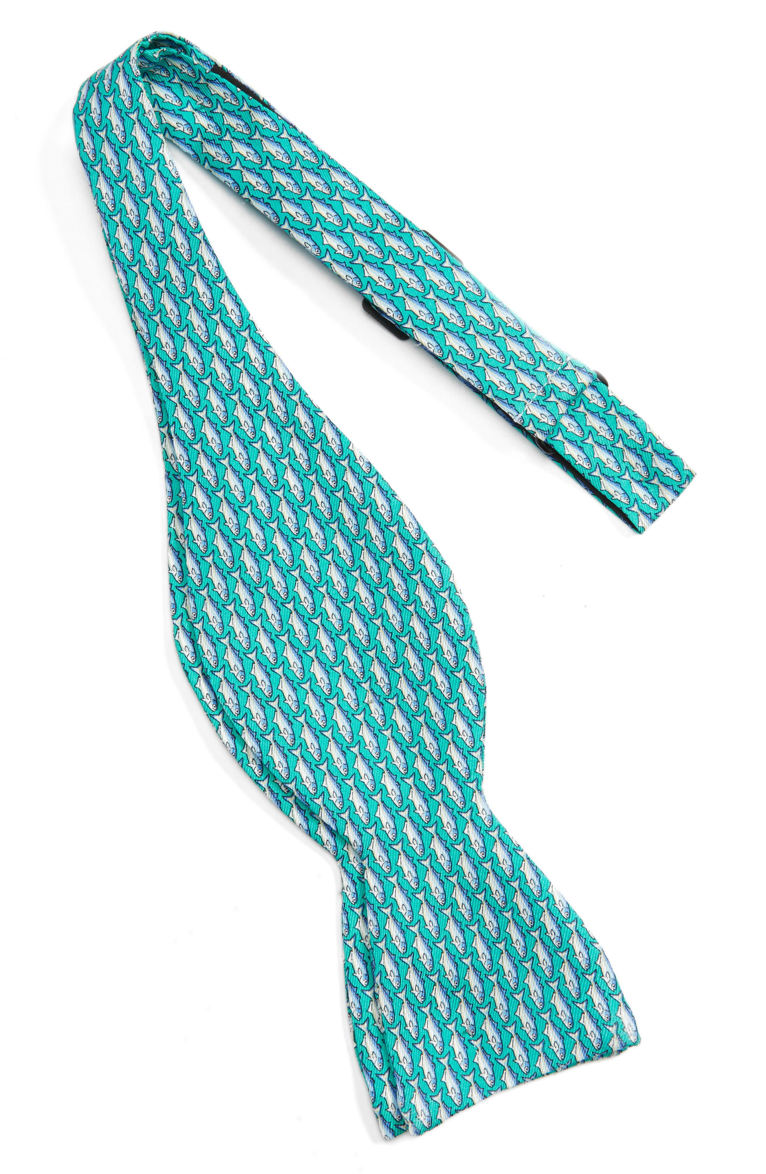 Blue Fish Print Silk Bow Tie,                             Alternate thumbnail 2, color,                             Aqua
