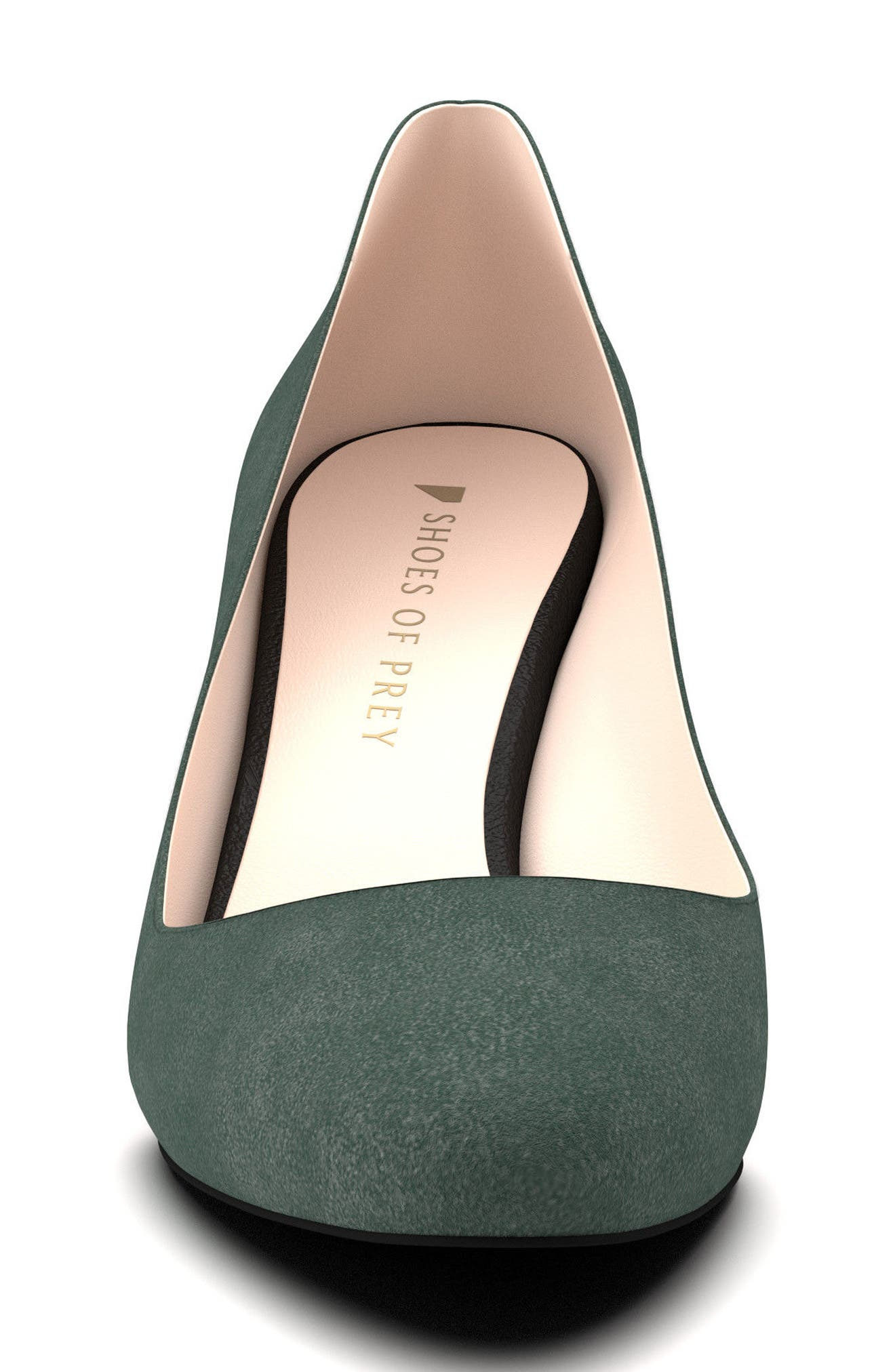 Block Heel Pump,                             Alternate thumbnail 4, color,                             Hunter Green Suede