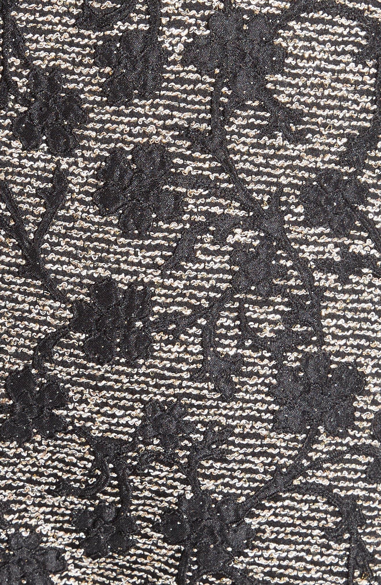 Floral Jacquard Midi Dress,                             Alternate thumbnail 3, color,                             Black/ Gold