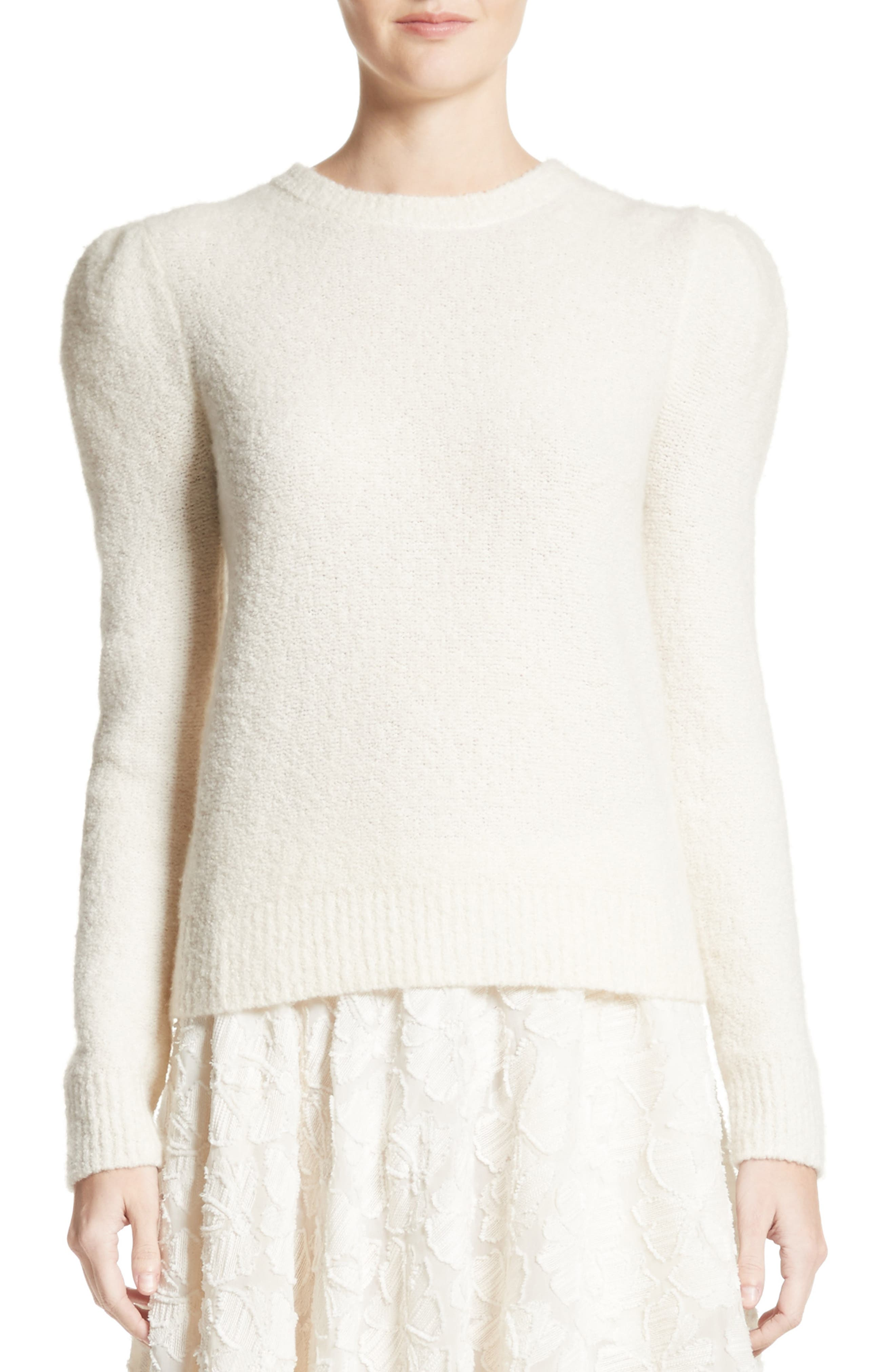 Puff Sleeve Cashmere Blend Sweater,                             Main thumbnail 1, color,                             Ivory
