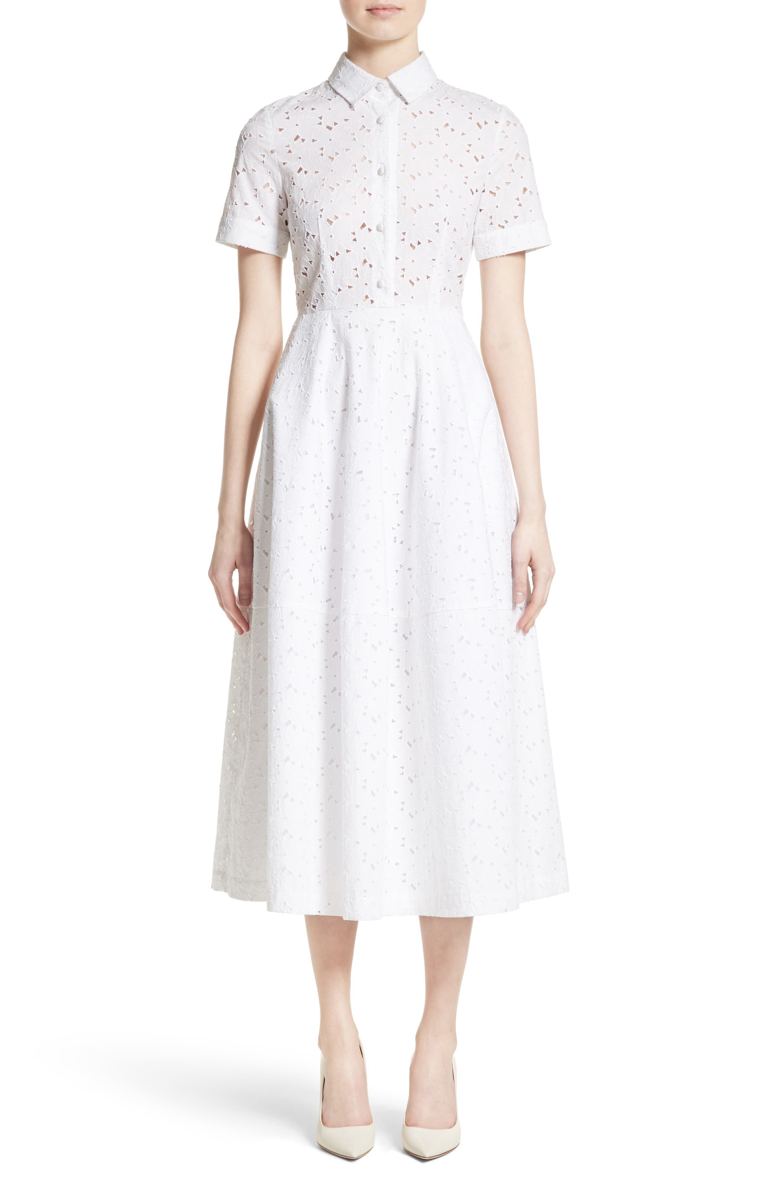 Cotton Broderie Anglaise Shirtdress,                             Main thumbnail 1, color,                             White