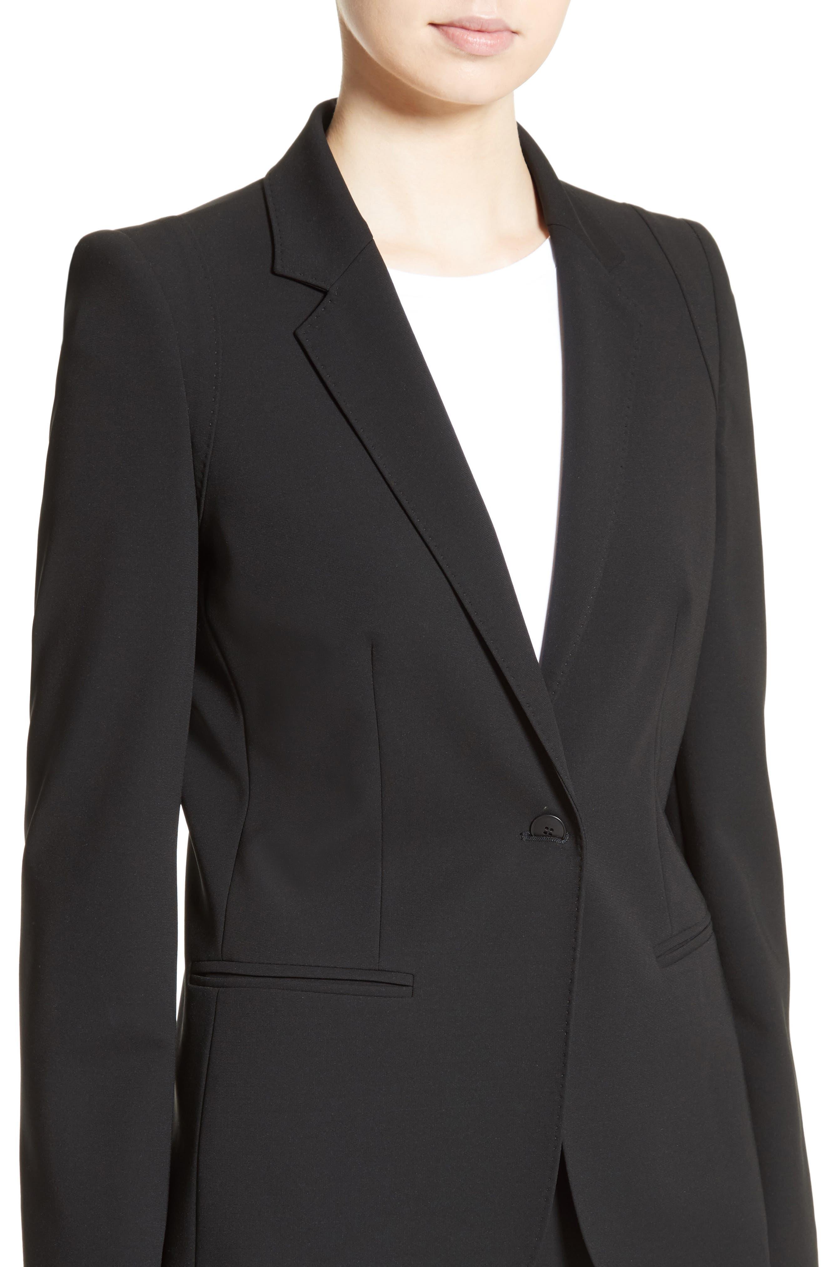 Bari Stretch Jersey Jacket,                             Alternate thumbnail 6, color,                             Black