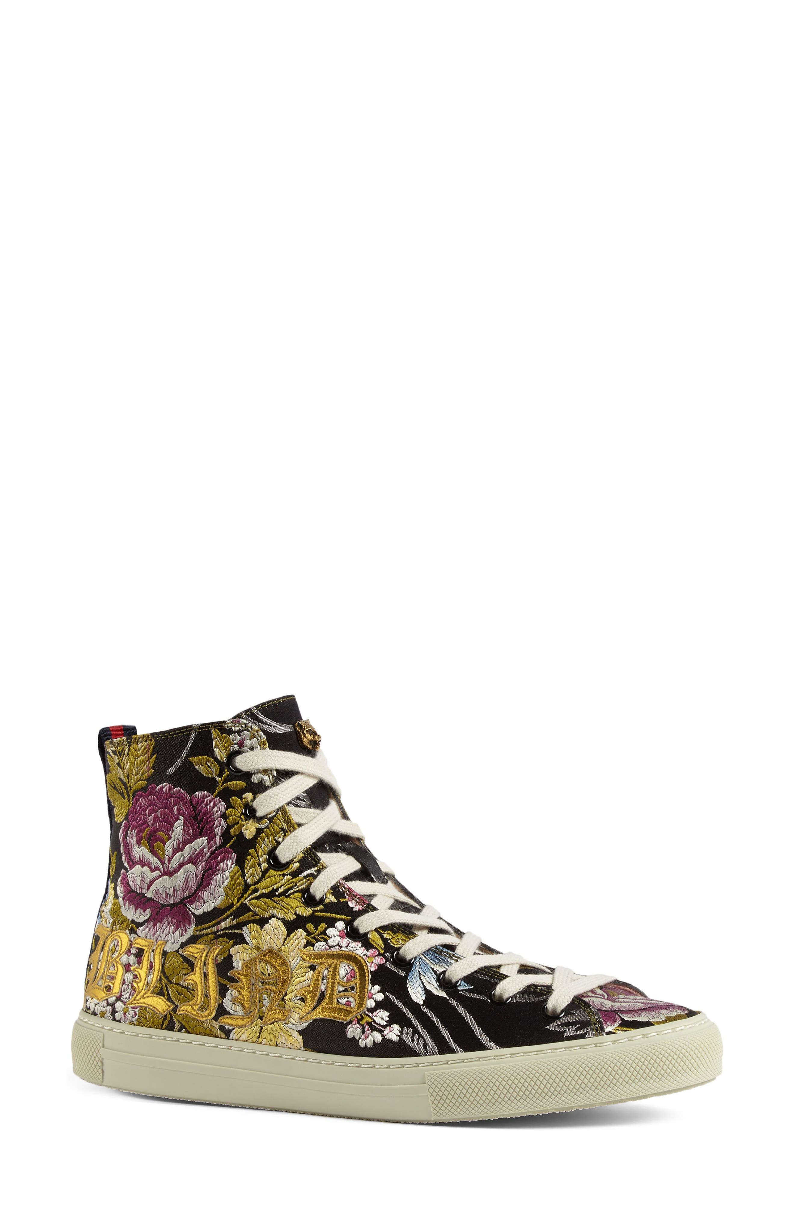 Floral High Top Sneaker,                             Alternate thumbnail 2, color,                             Black Floral