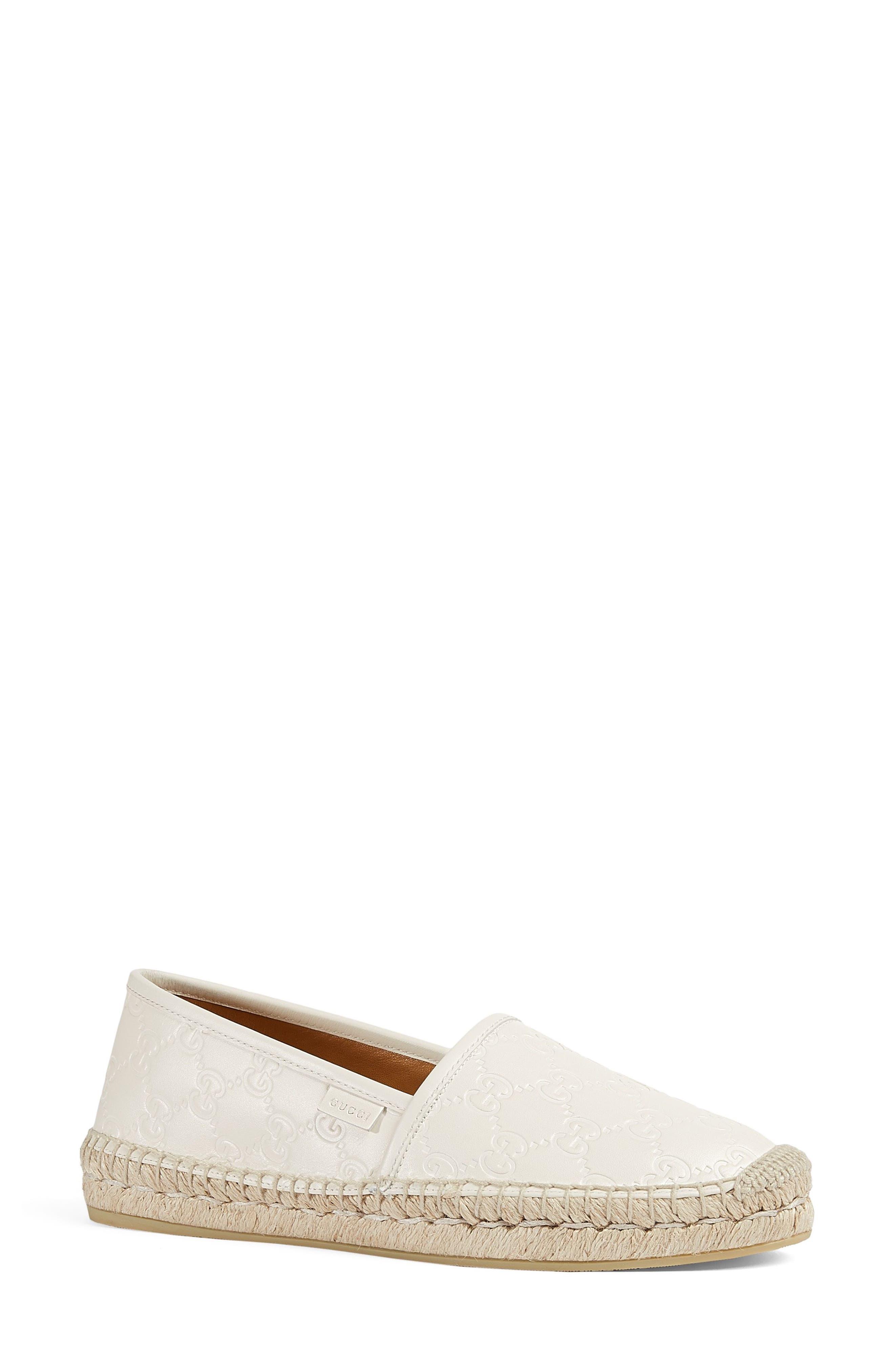Pilar Espadrille Flat,                             Alternate thumbnail 3, color,                             White Leather
