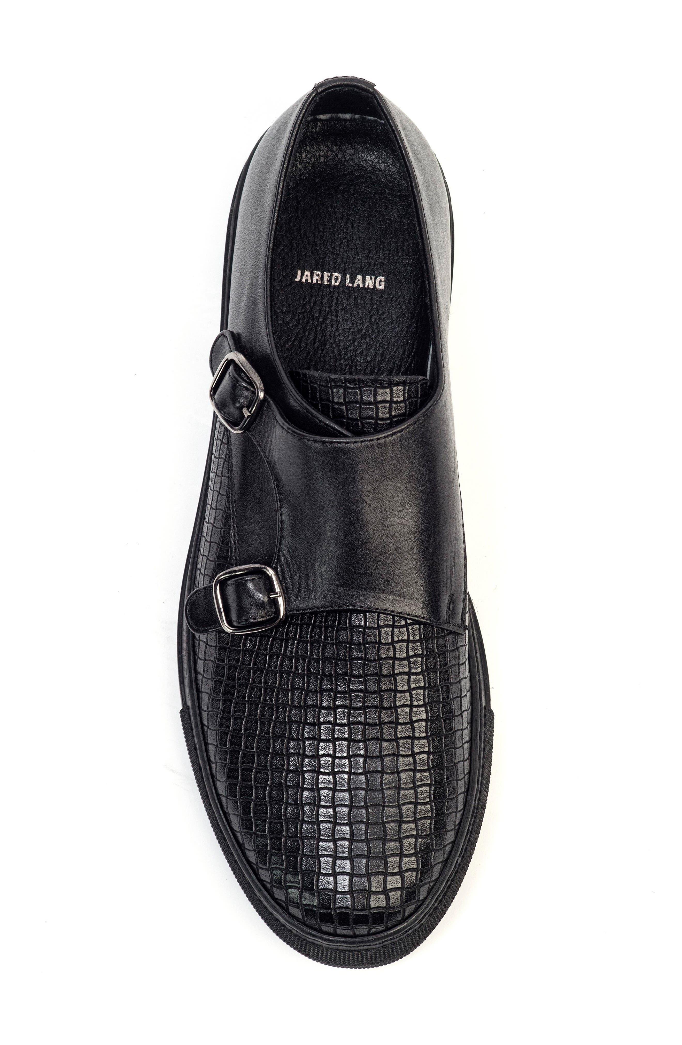 Embossed Monk Strap Sneaker,                             Alternate thumbnail 3, color,                             Black
