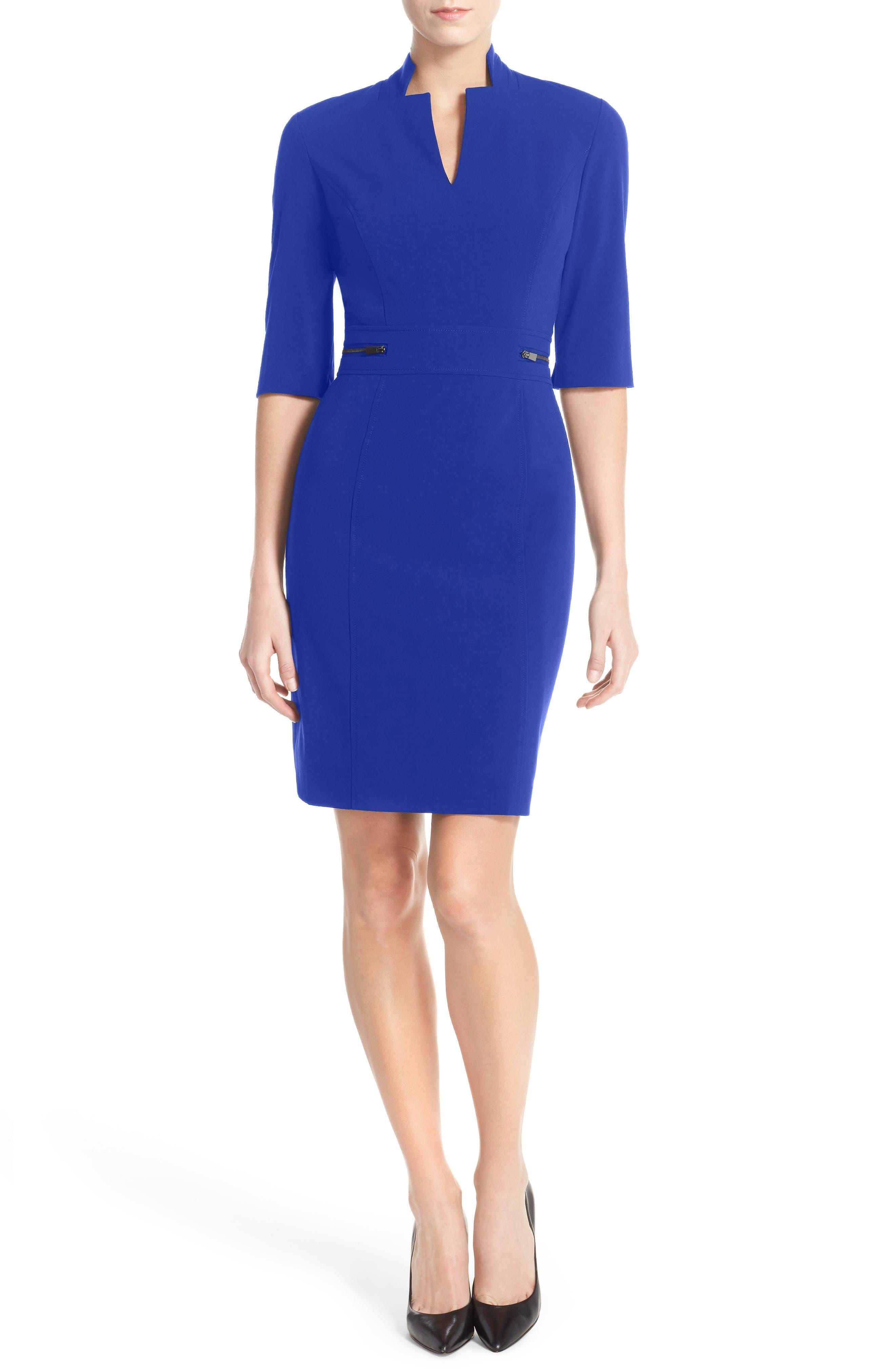 Bi-Stretch Sheath Dress,                         Main,                         color, Cobalt