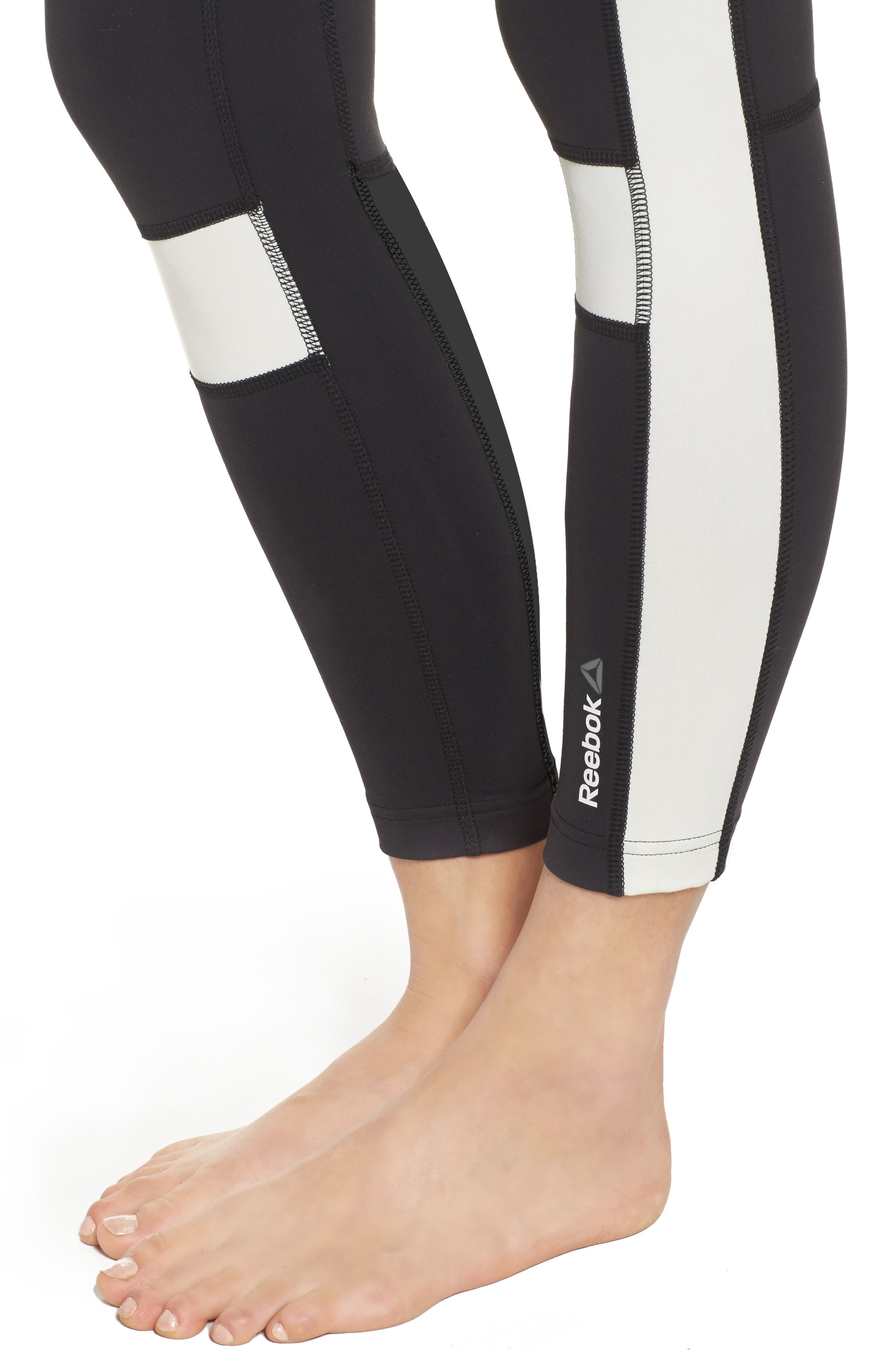 Speedwick Colorblock Tights,                             Alternate thumbnail 4, color,                             Black