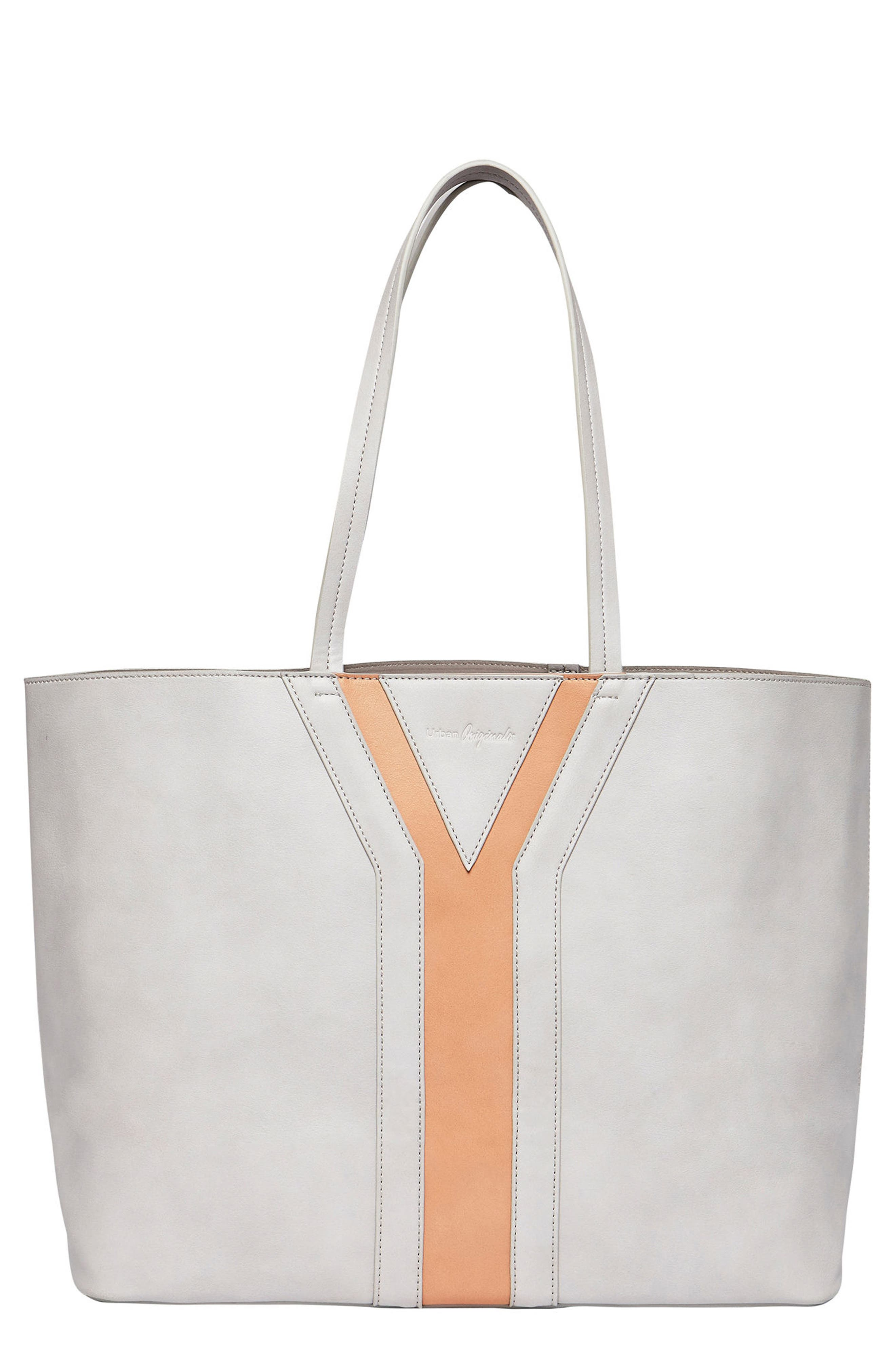 Streetstyle Vegan Leather Tote,                             Main thumbnail 1, color,                             Grey/ Pink