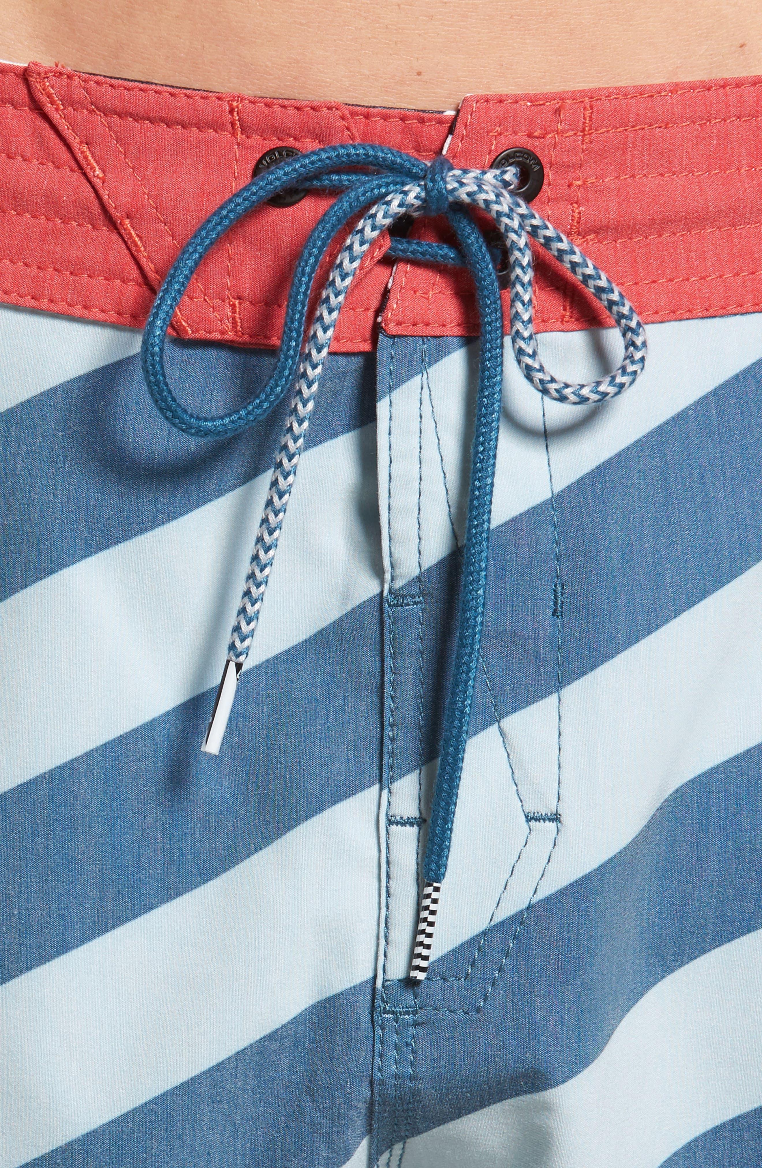 Stripey Slinger Board Shorts,                             Alternate thumbnail 4, color,                             Flight Blue