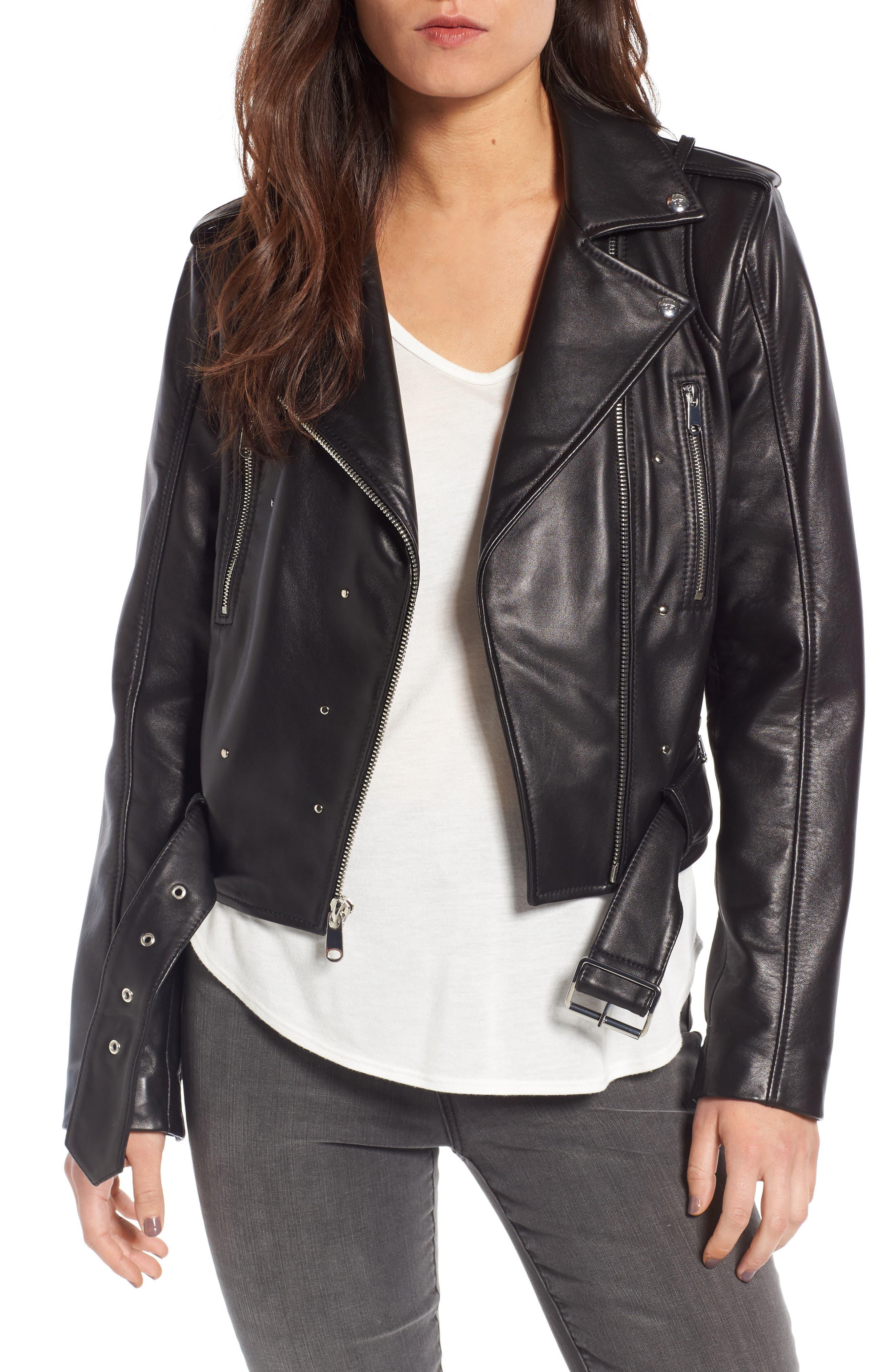 Sam Edelman Starburst Studded Crop Moto Jacket