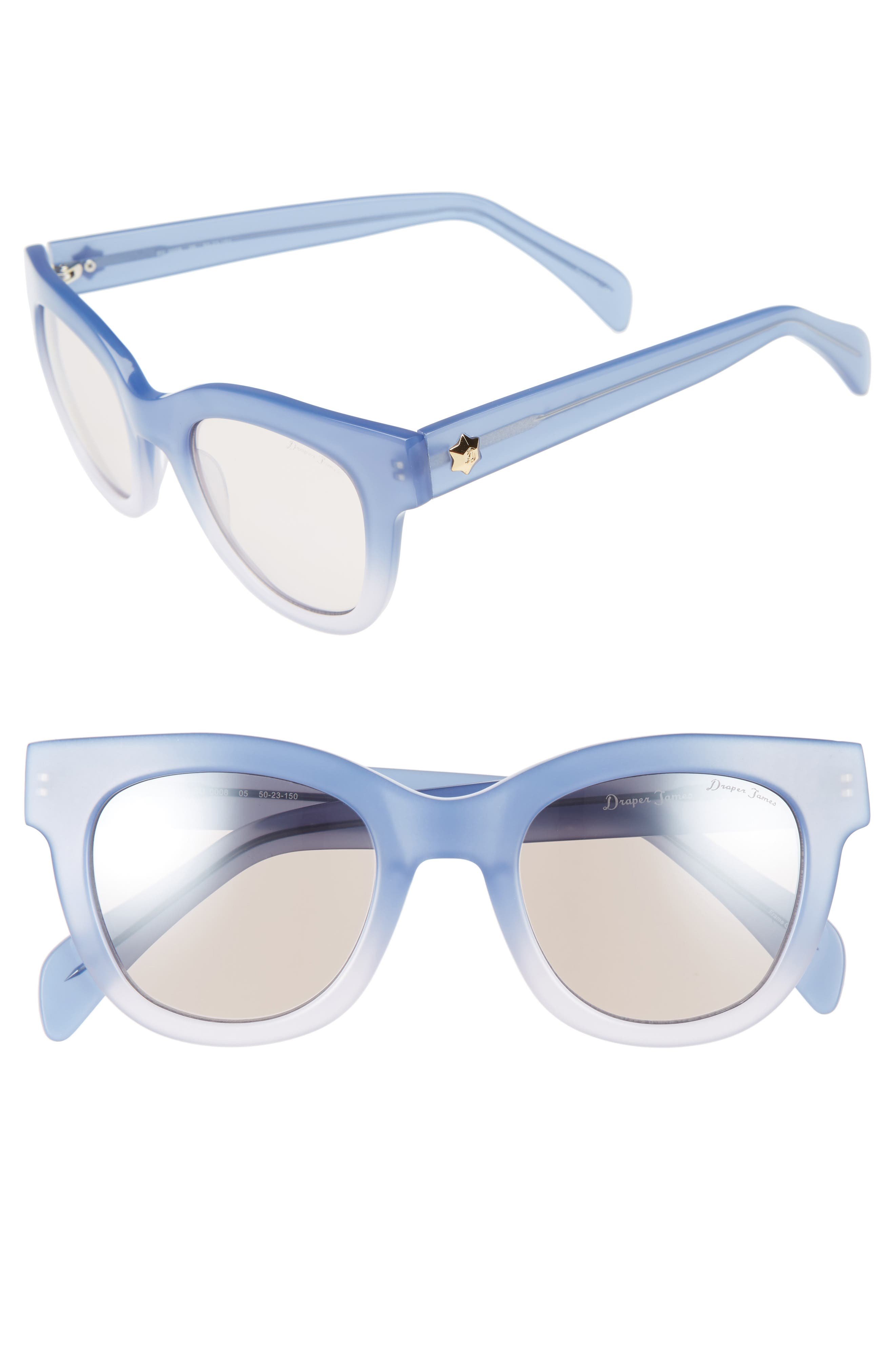 50mm Gradient Lens Cat Eye Sunglasses,                         Main,                         color, Blue