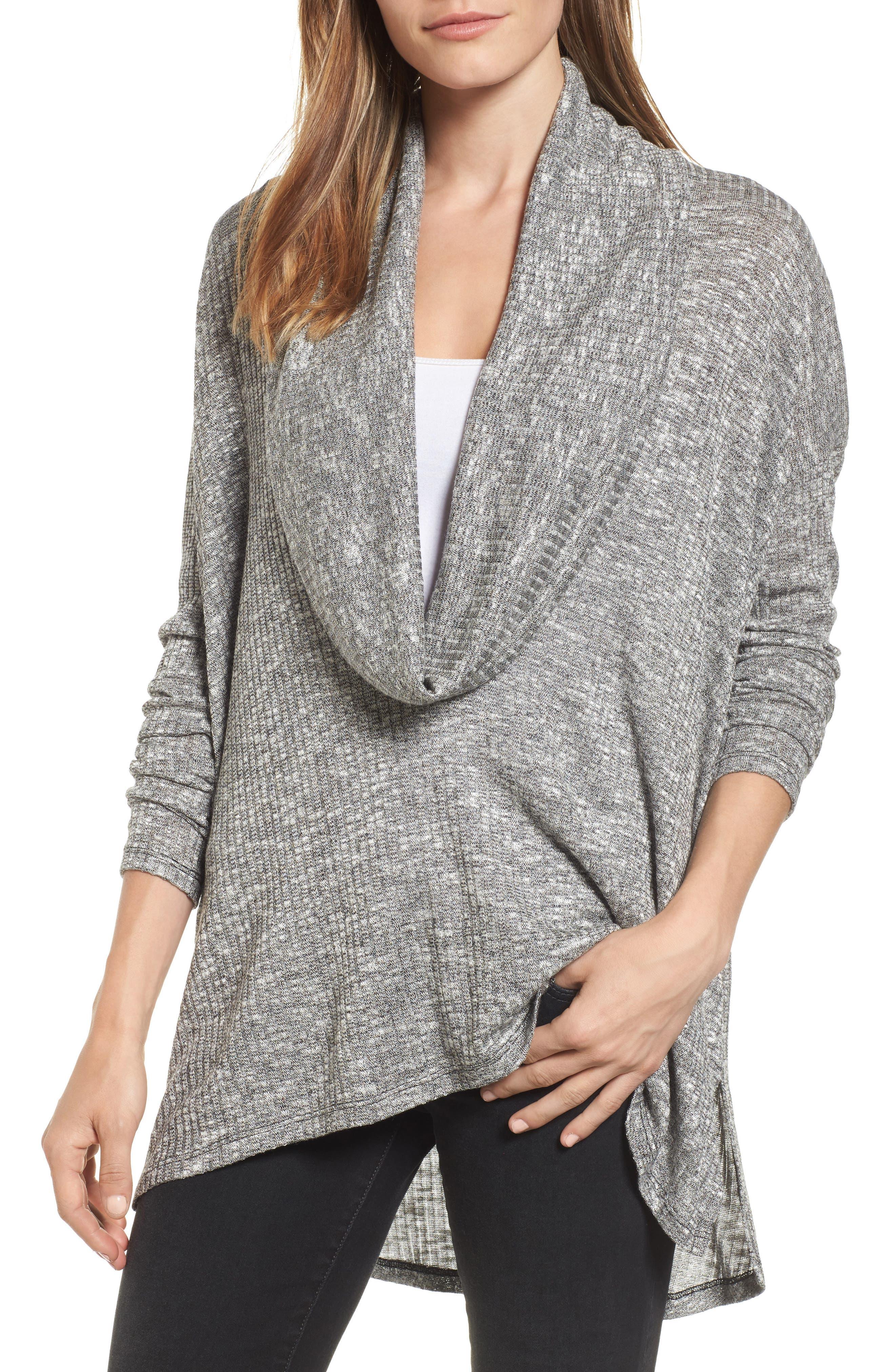 Deep Cowl Neck Knit Top,                         Main,                         color, Black
