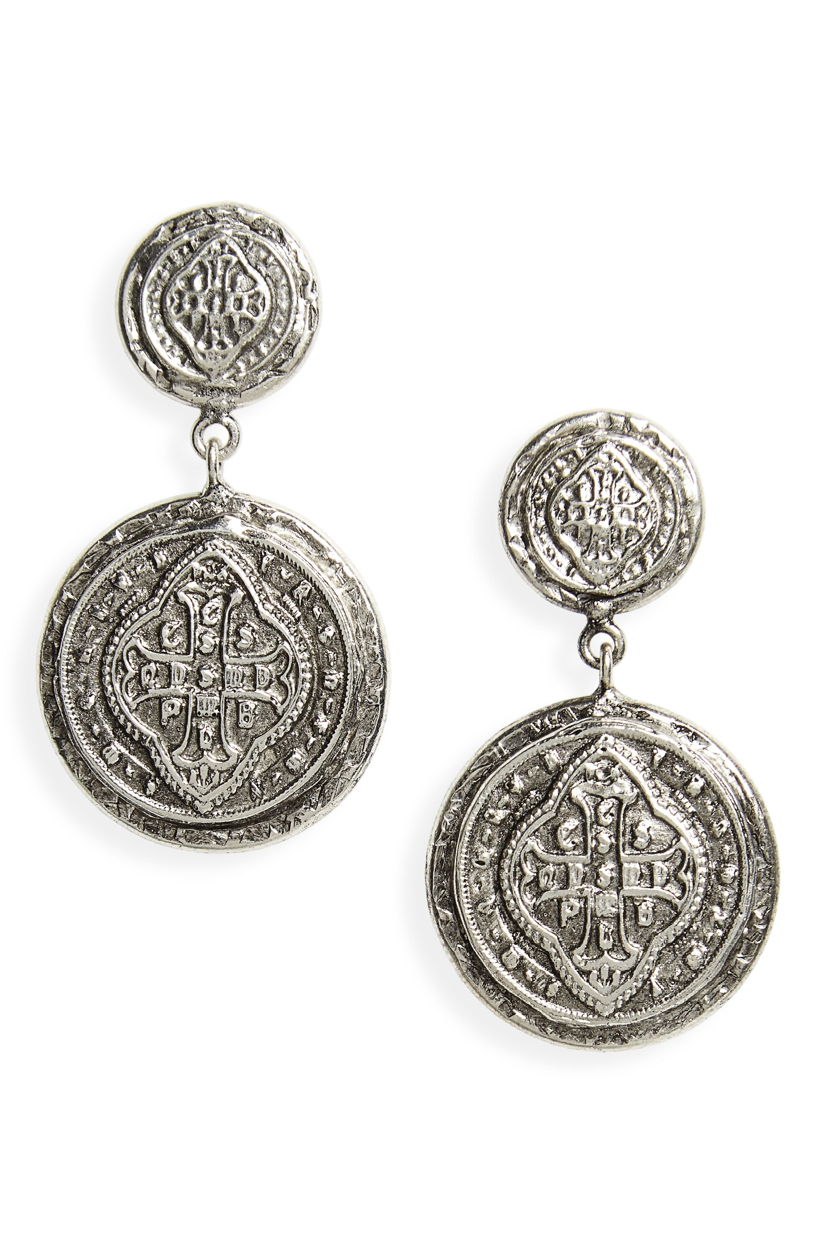 Cathedral Drop Earrings,                             Main thumbnail 1, color,                             Silver