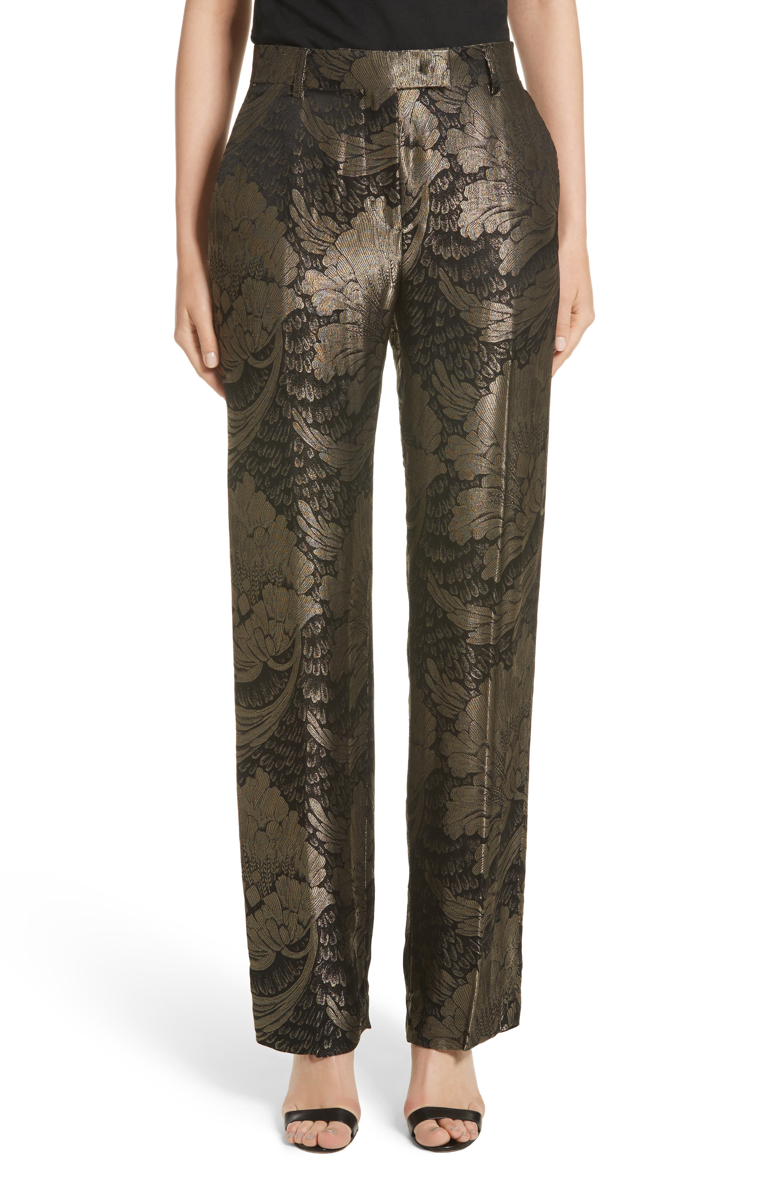 Metallic Floral Silk Blend Pants,                         Main,                         color, Black/ Gold