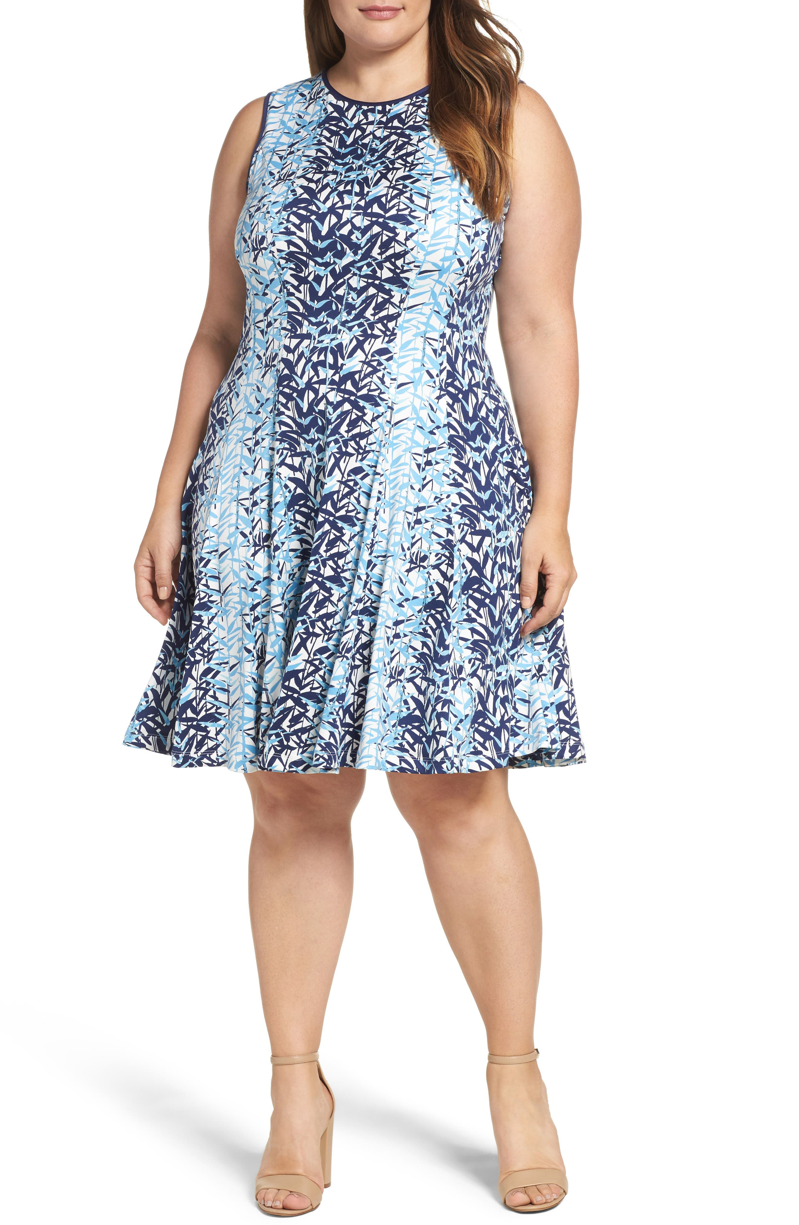 Abstract Print Jersey Fit & Flare Dress,                         Main,                         color, Navy Multi
