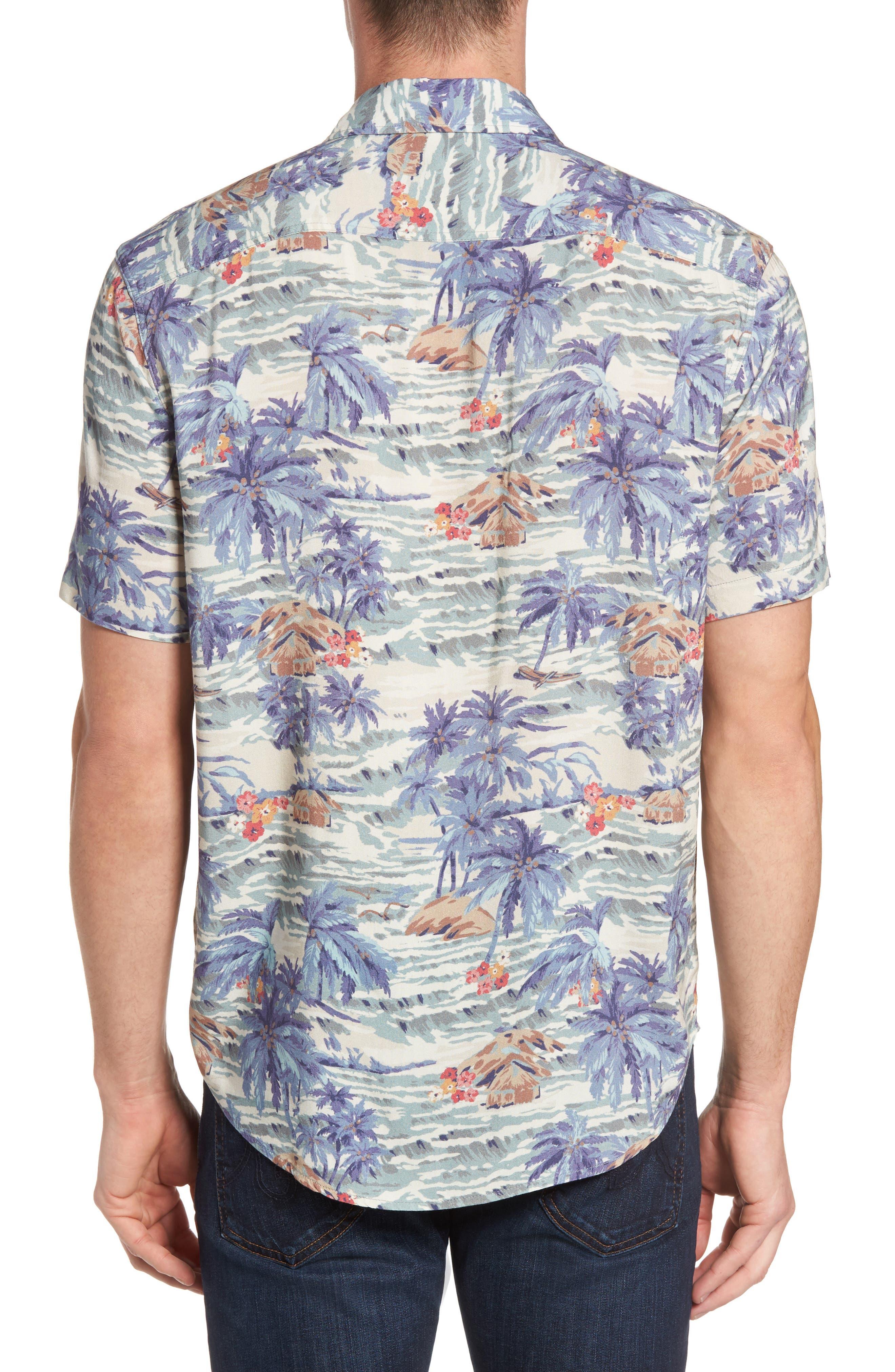 Hawaiian Print Rayon Shirt,                             Alternate thumbnail 2, color,                             Tahitian Dreams