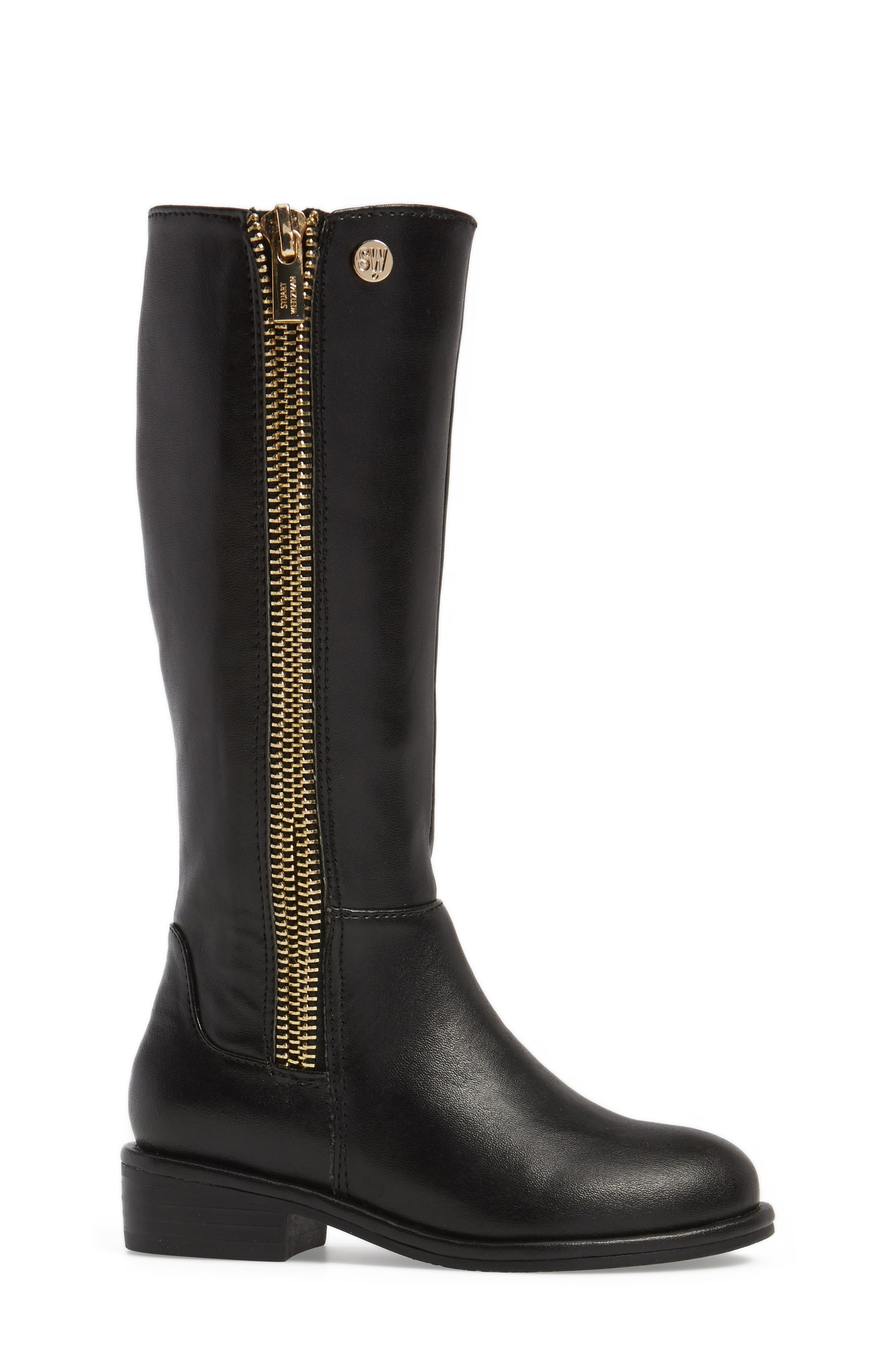 Lowland Riding Boot,                             Alternate thumbnail 3, color,                             Black Faux Leather