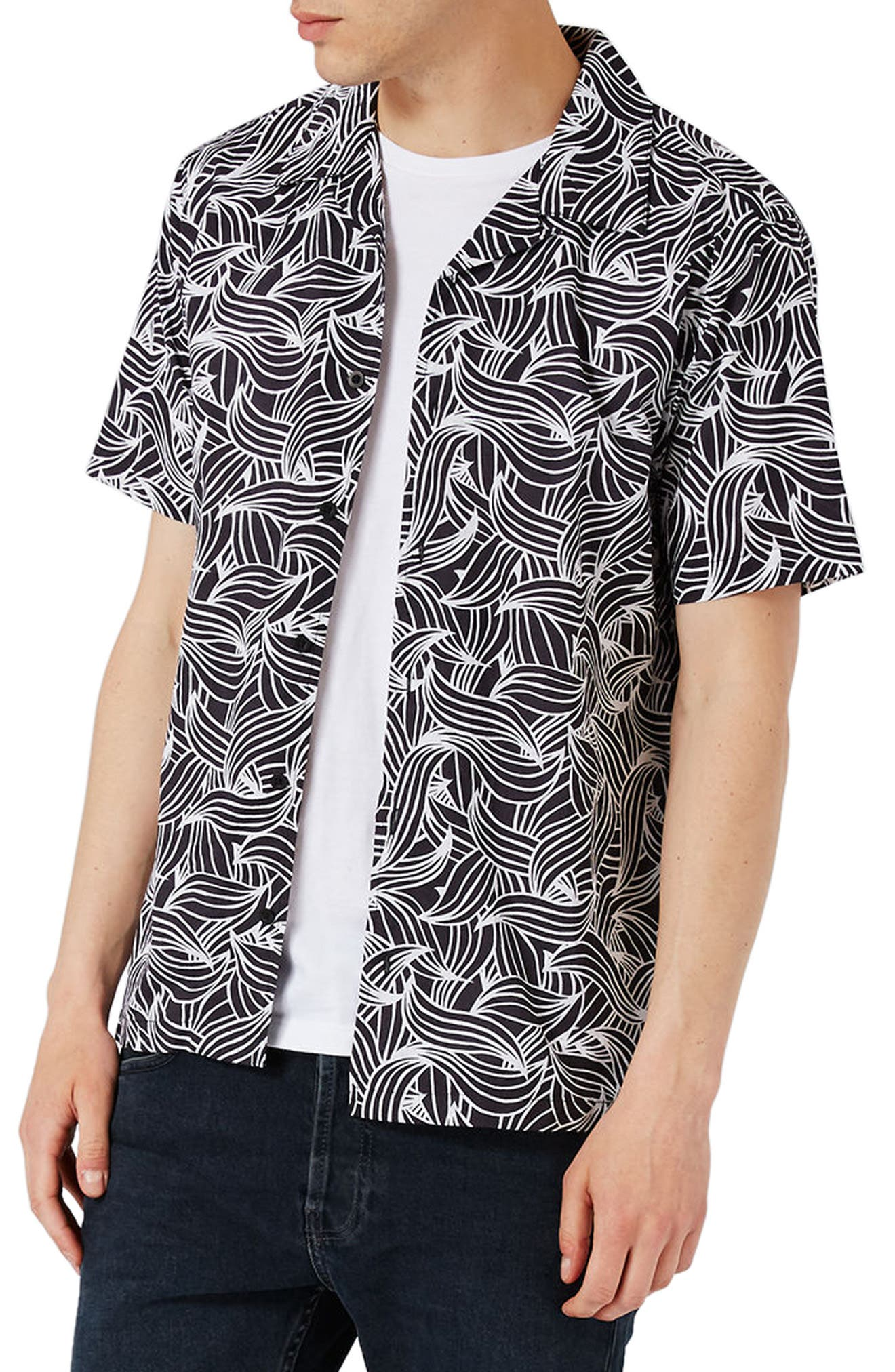TOPMAN Wave Print Shirt